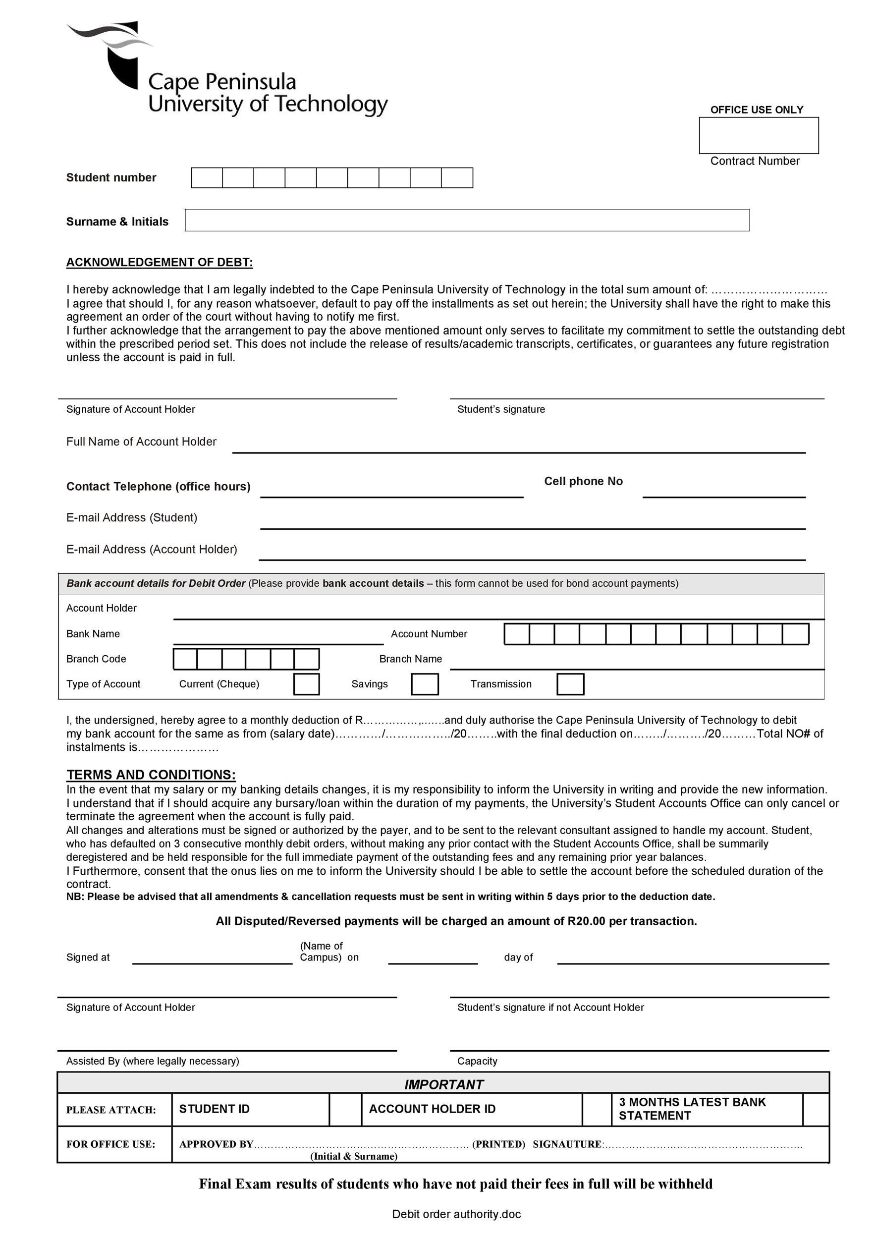 Free iou template 40