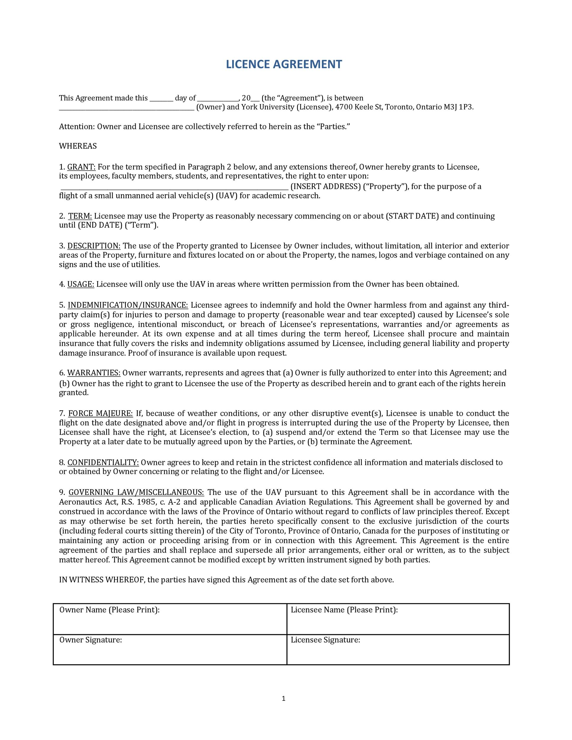 Free license agreement template 04