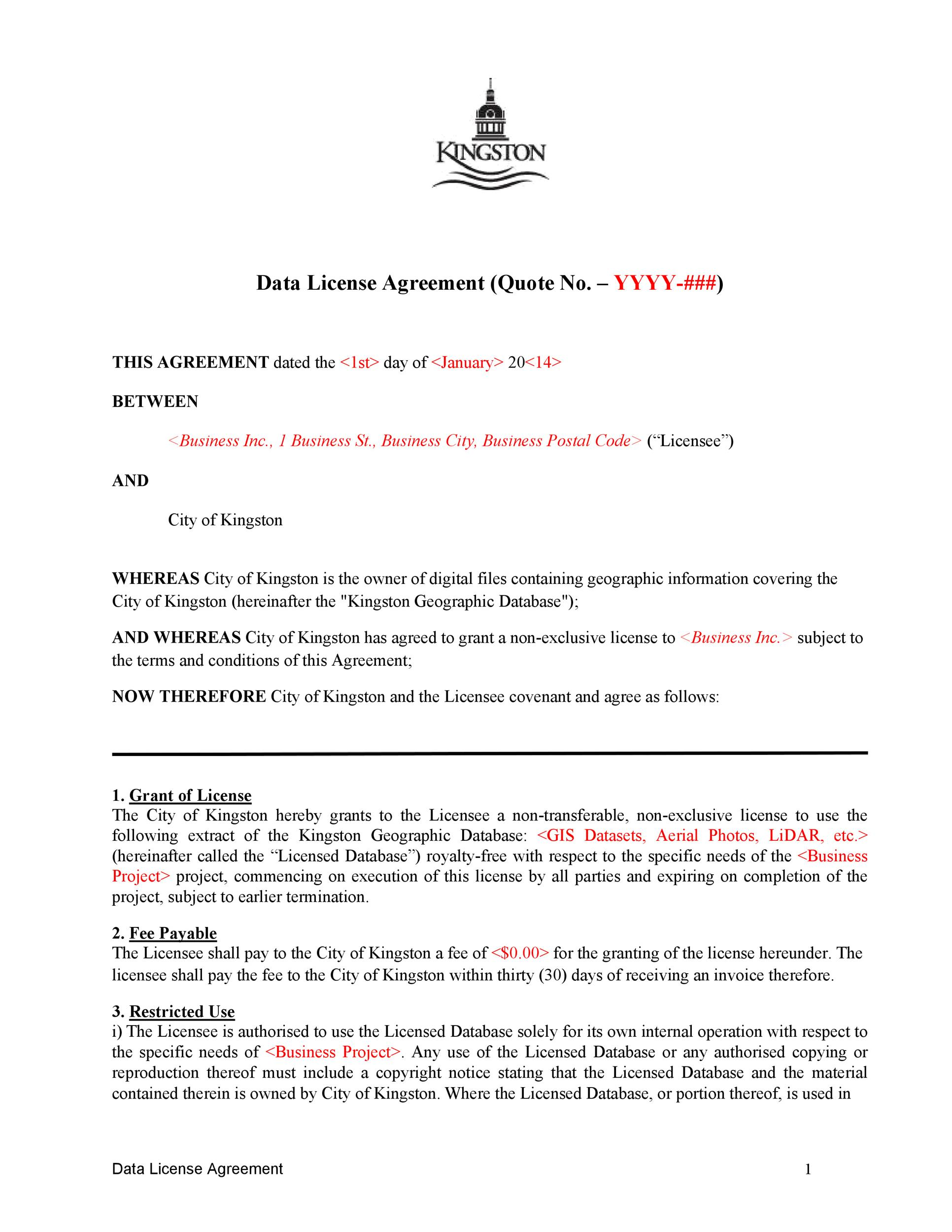 Free license agreement template 07