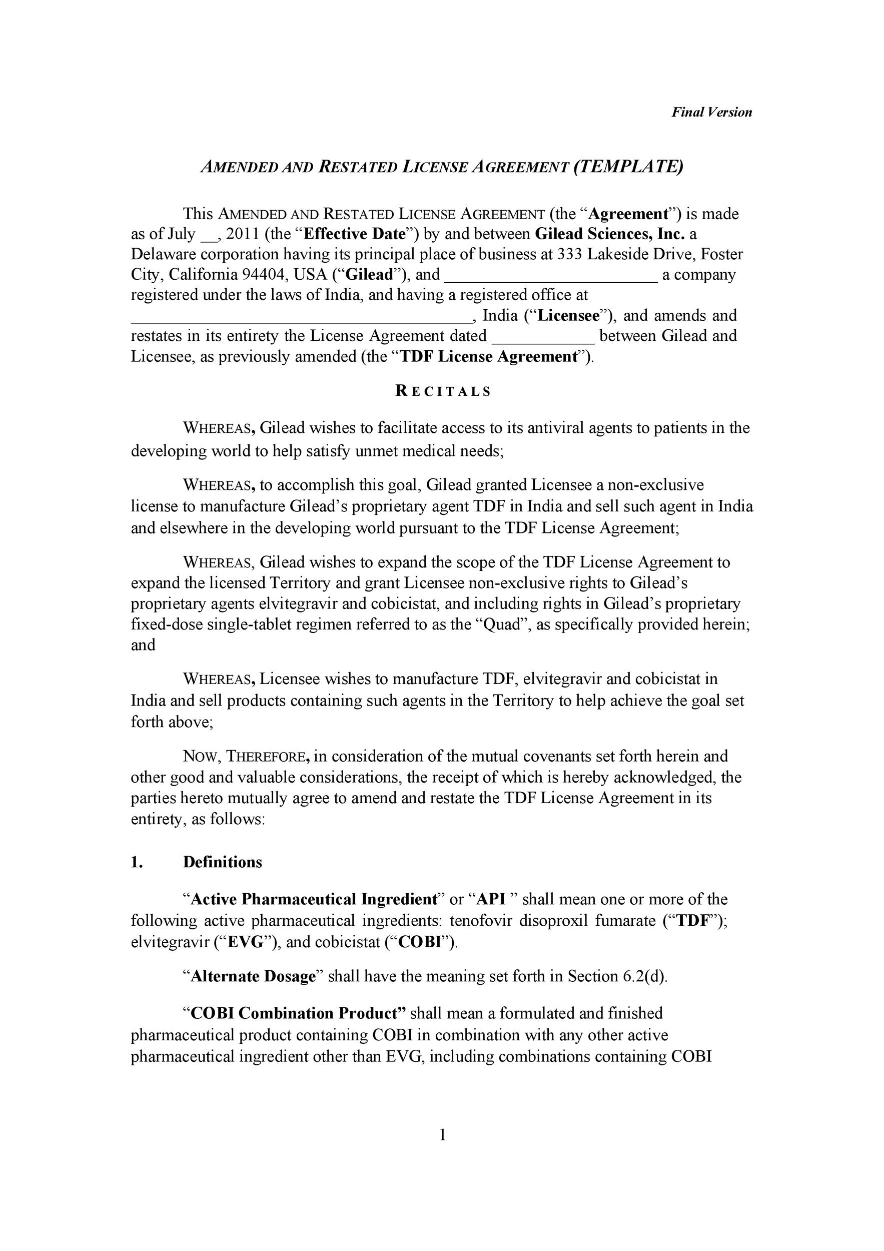 Free license agreement template 14