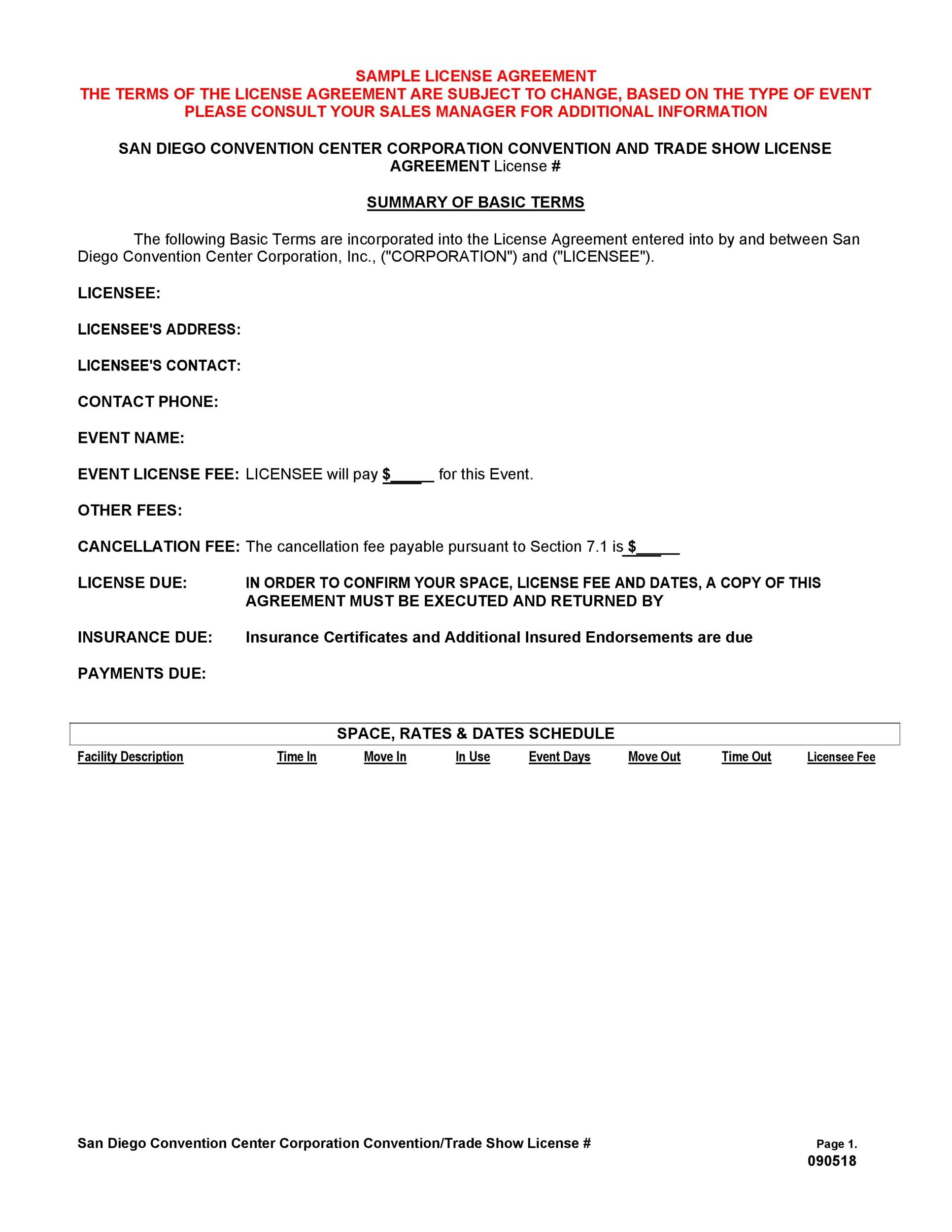 Free license agreement template 15