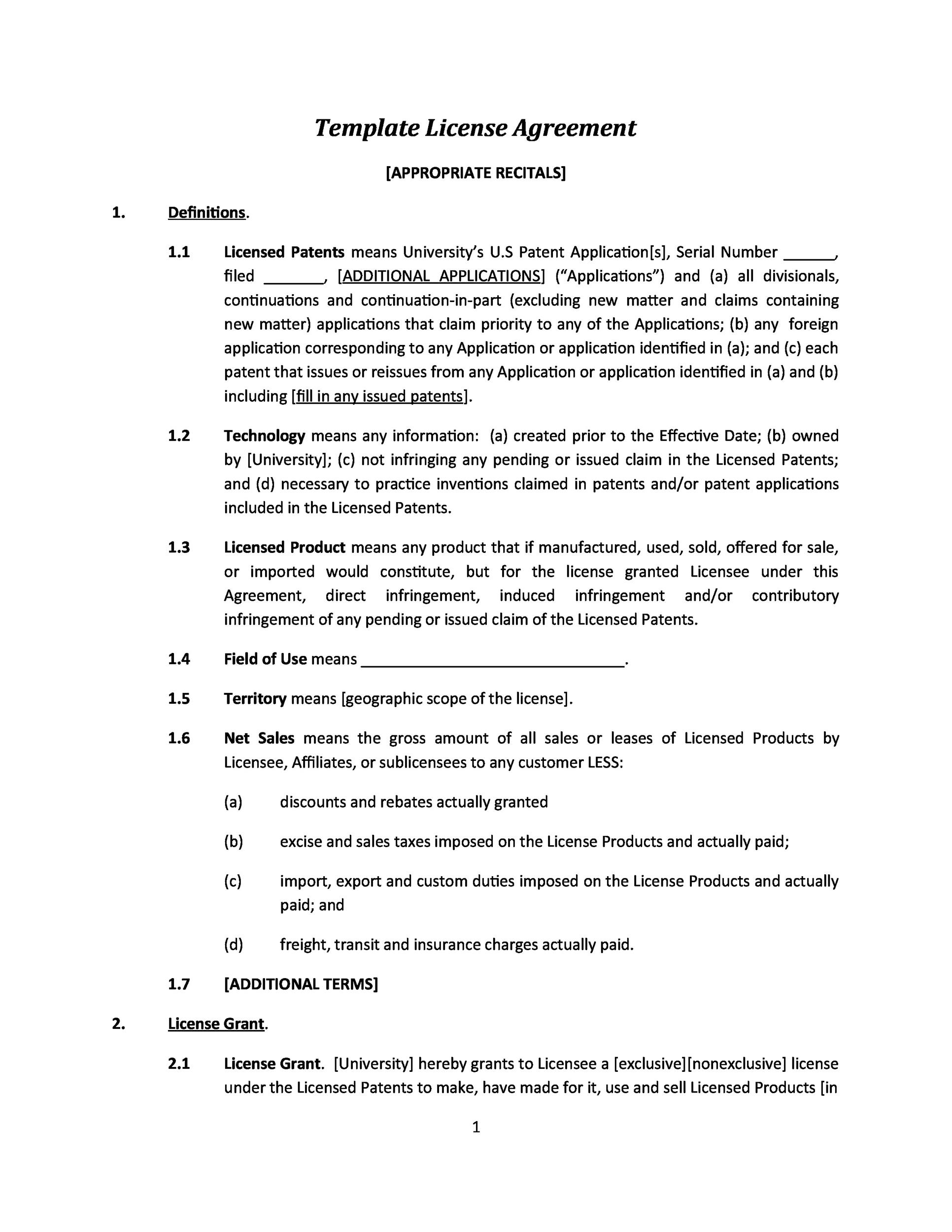 Free license agreement template 17