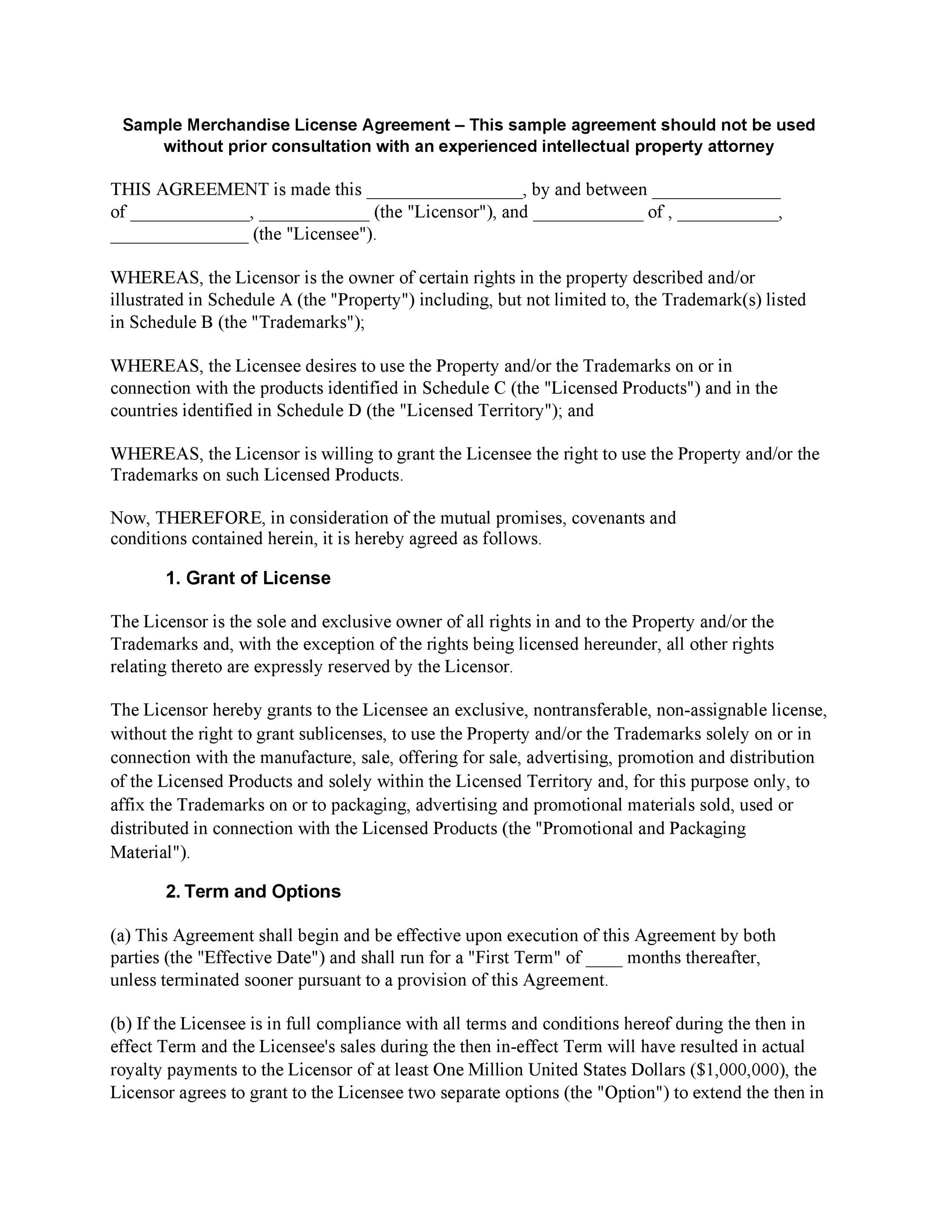 Free license agreement template 20