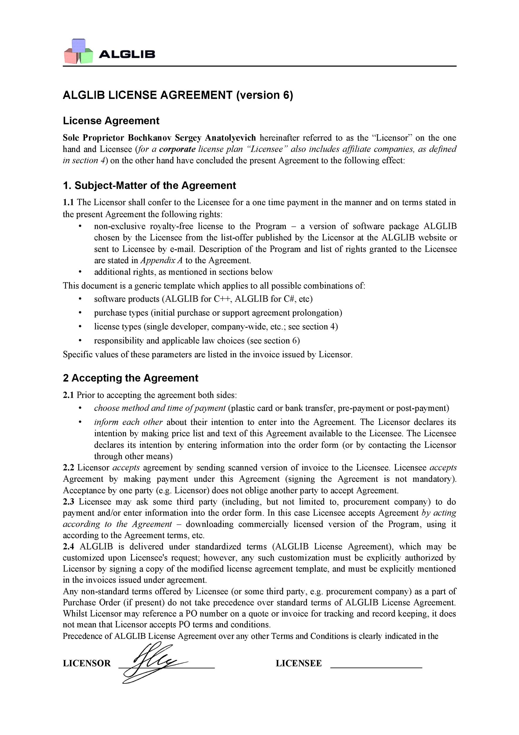 Free license agreement template 31