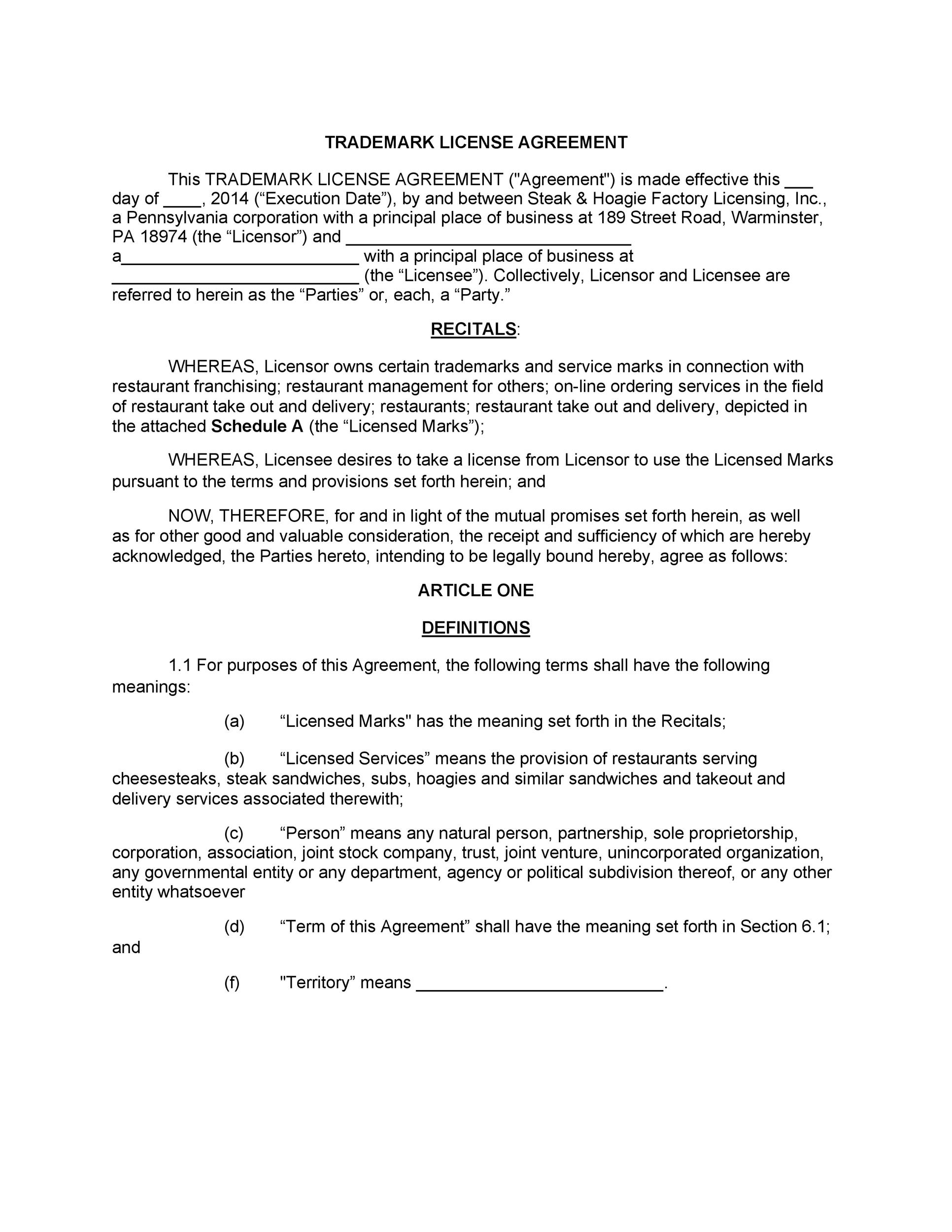 Free license agreement template 33