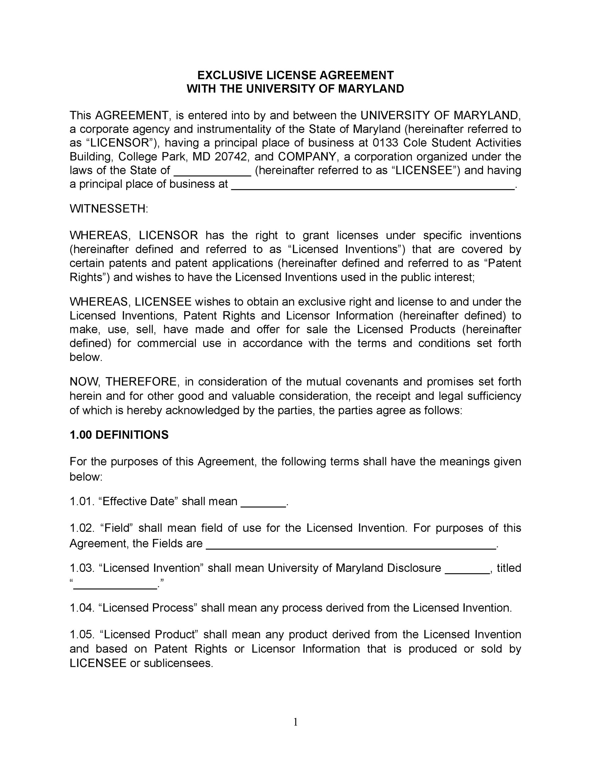 Free license agreement template 50