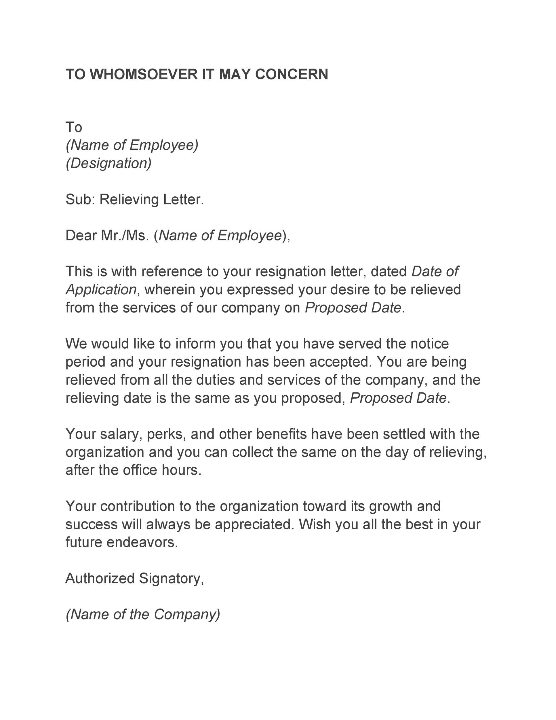 To Whom It May Concern Resignation Letter from templatelab.com