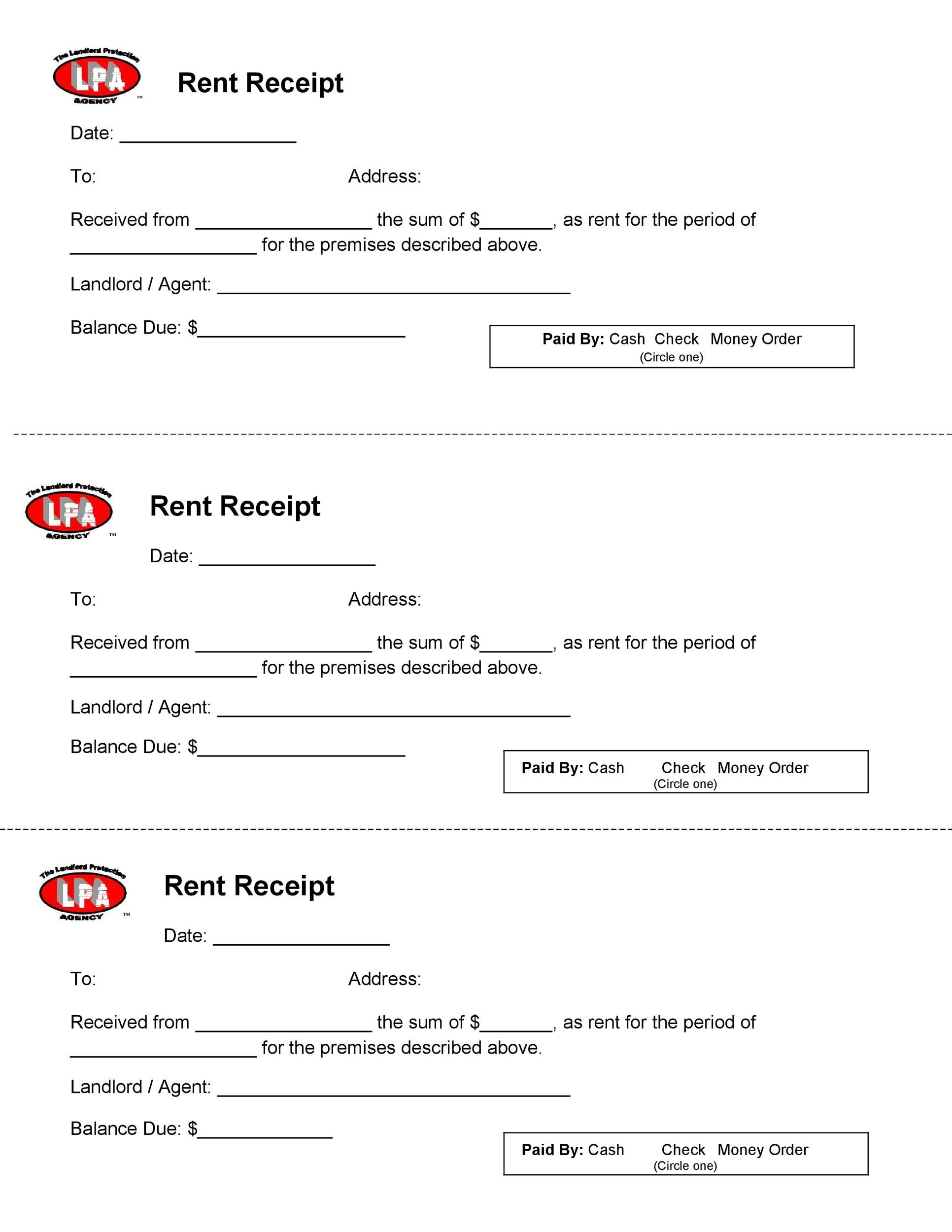 photo regarding Printable Rent Receipt Template identified as 49 Printable Lease Receipts (Free of charge Templates) ᐅ Template Lab