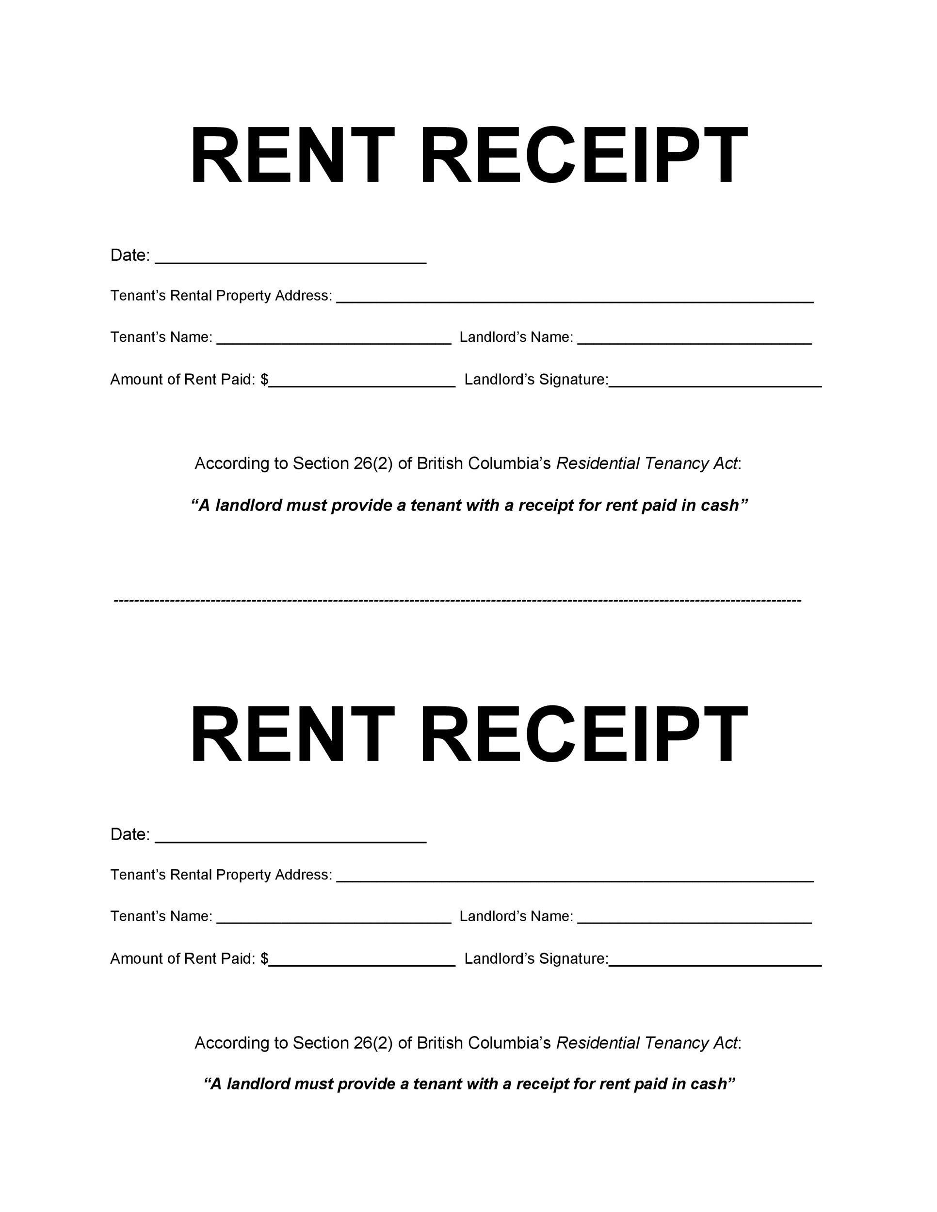 Free rent receipt 06
