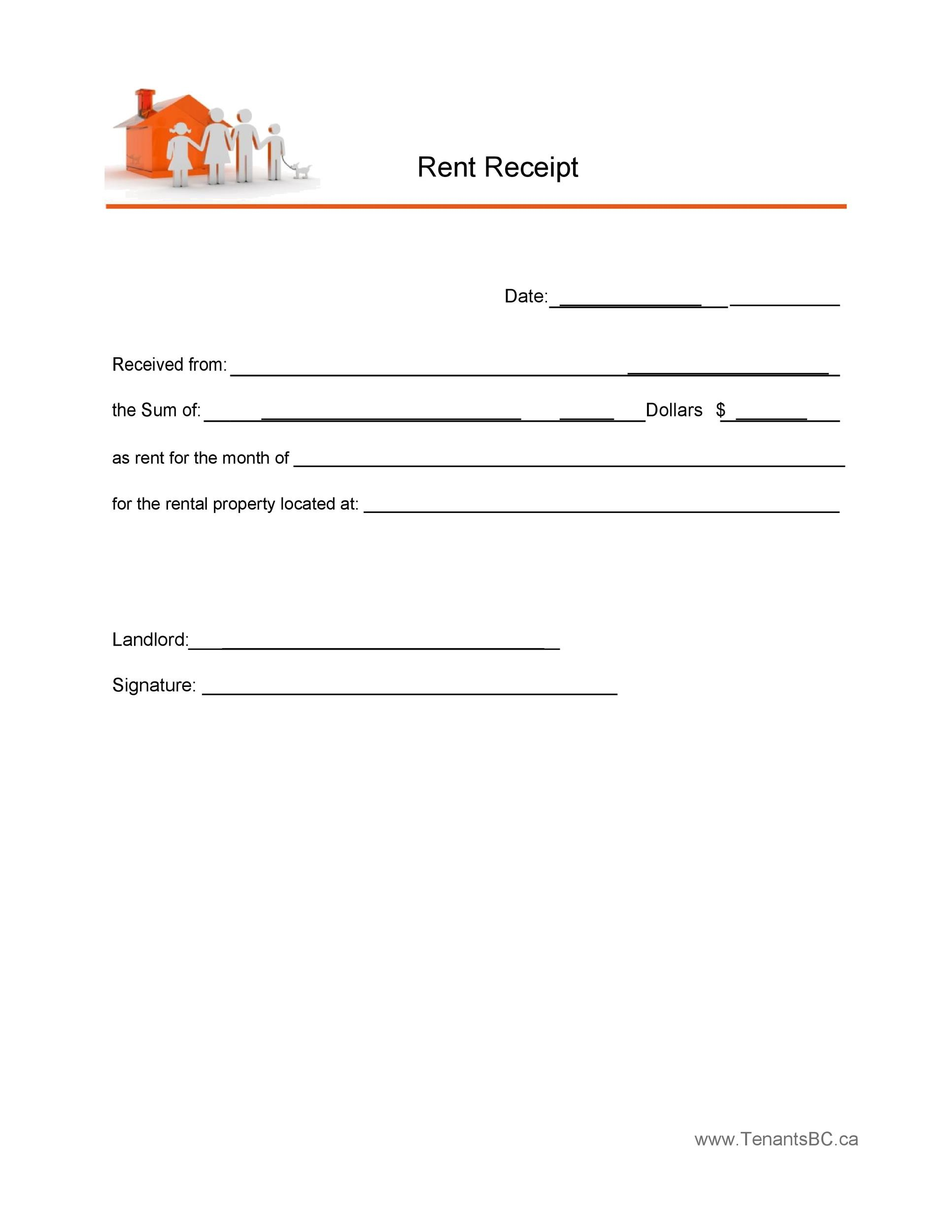 image relating to Printable Rent Receipt referred to as 49 Printable Lease Receipts (Totally free Templates) ᐅ Template Lab