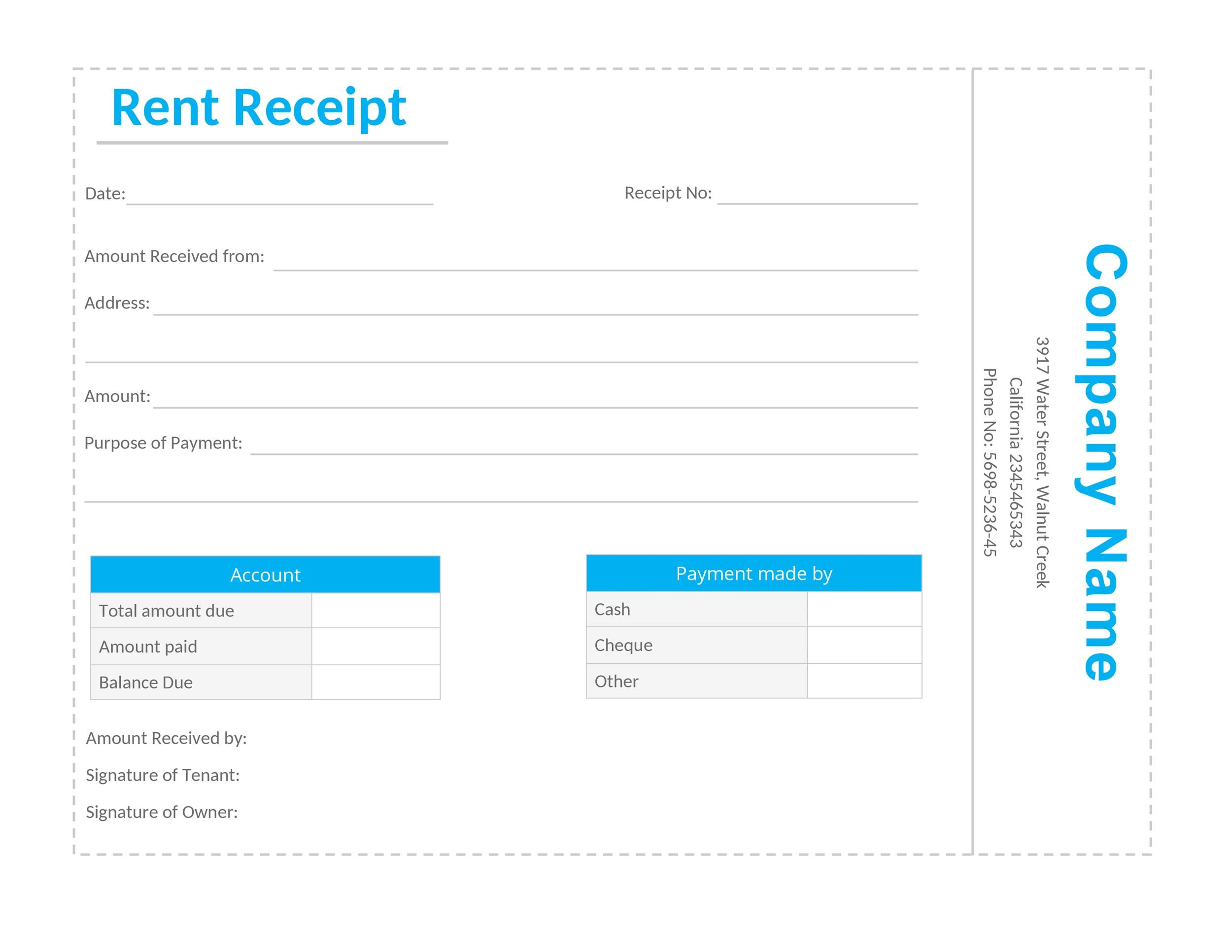 49 printable rent receipts  free templates   u1405 template lab