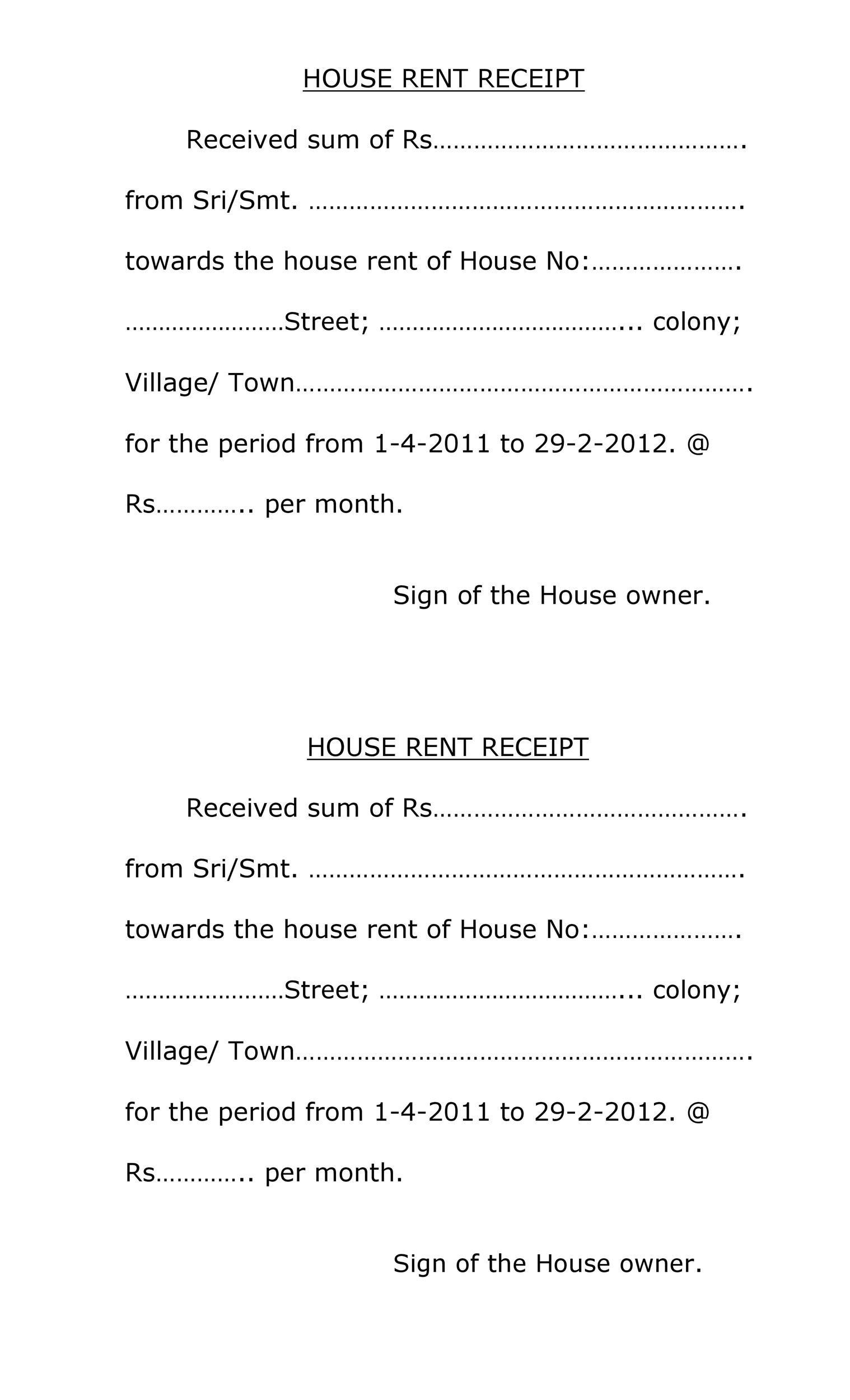 Free rent receipt 31