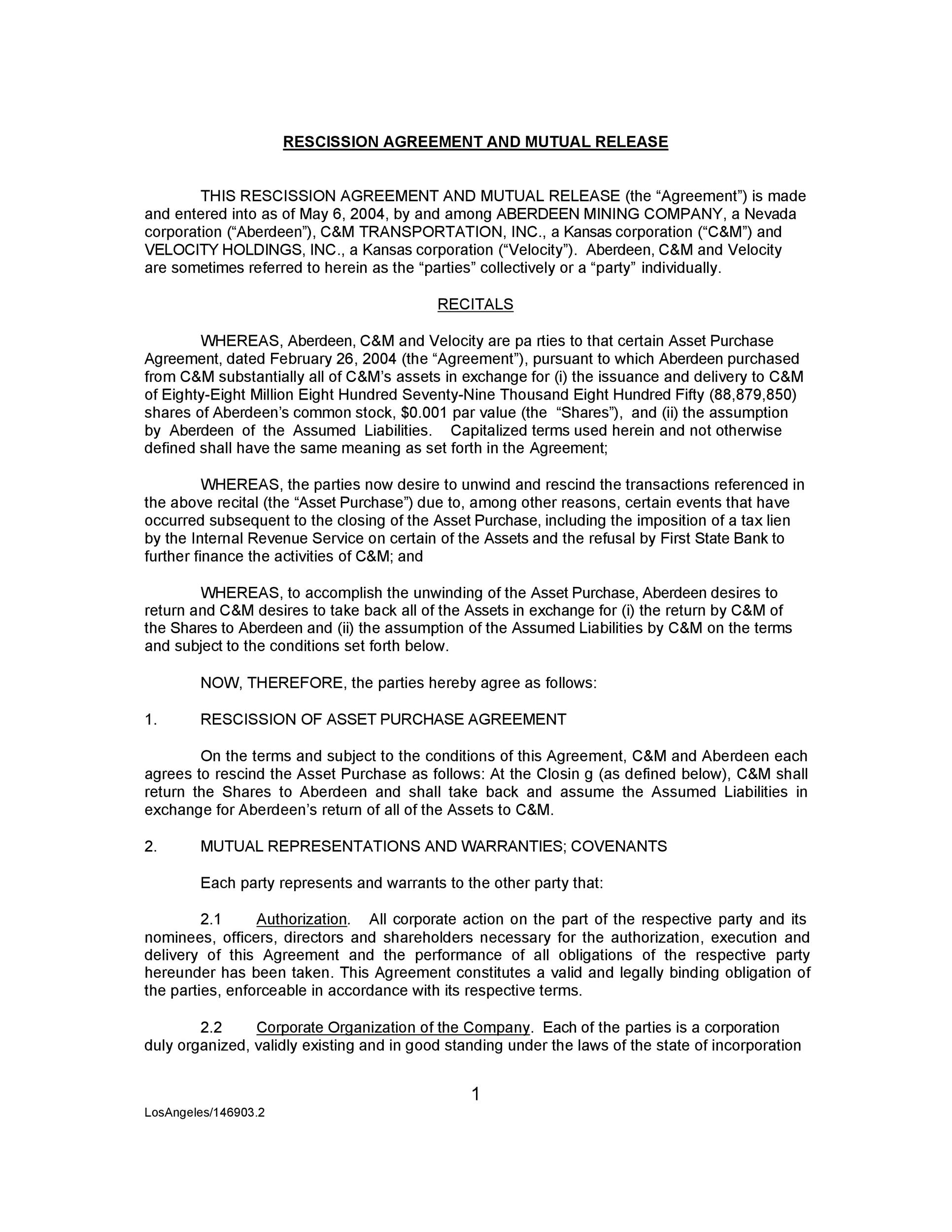 Free rescission agreement 01