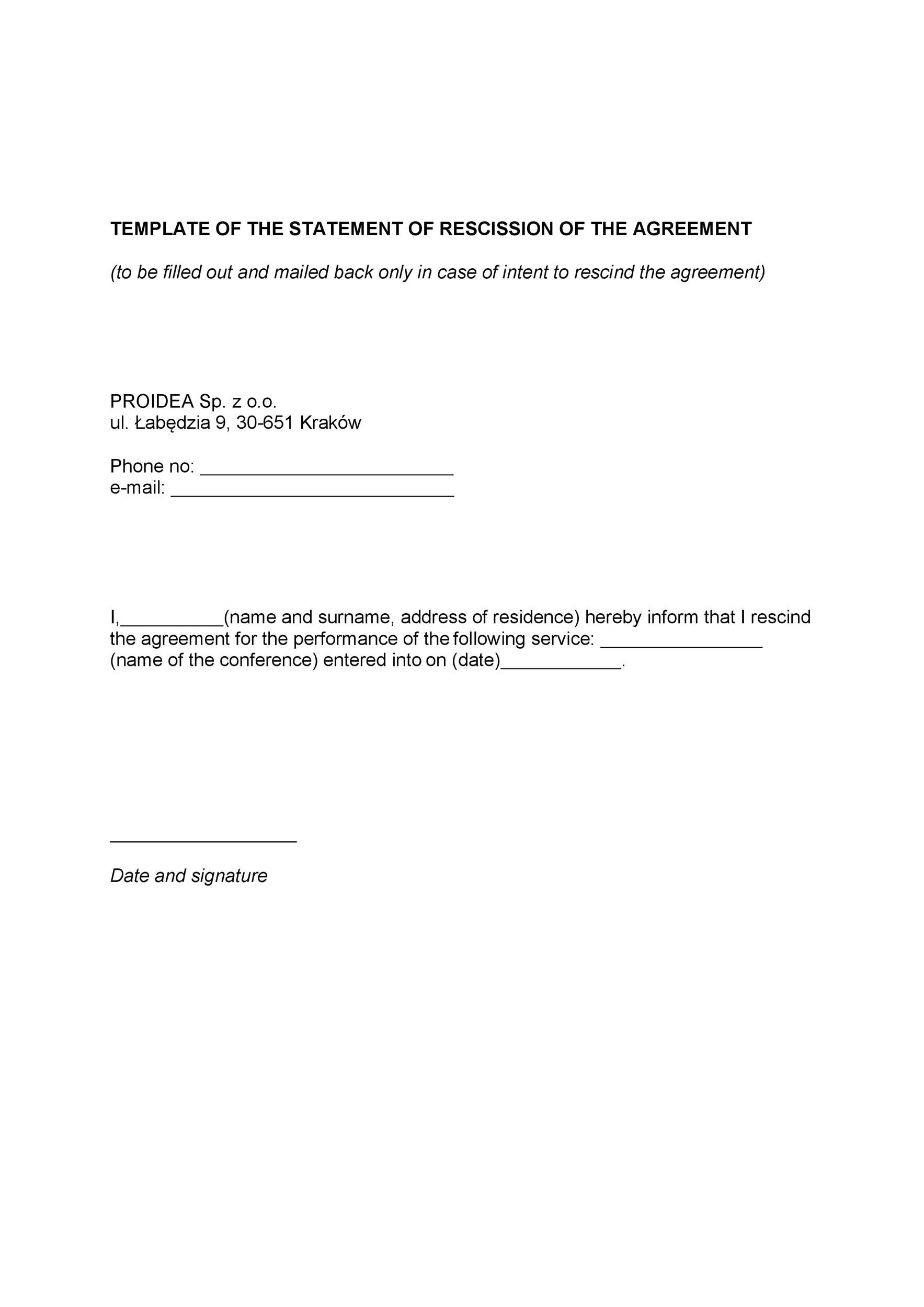 Free rescission agreement 03