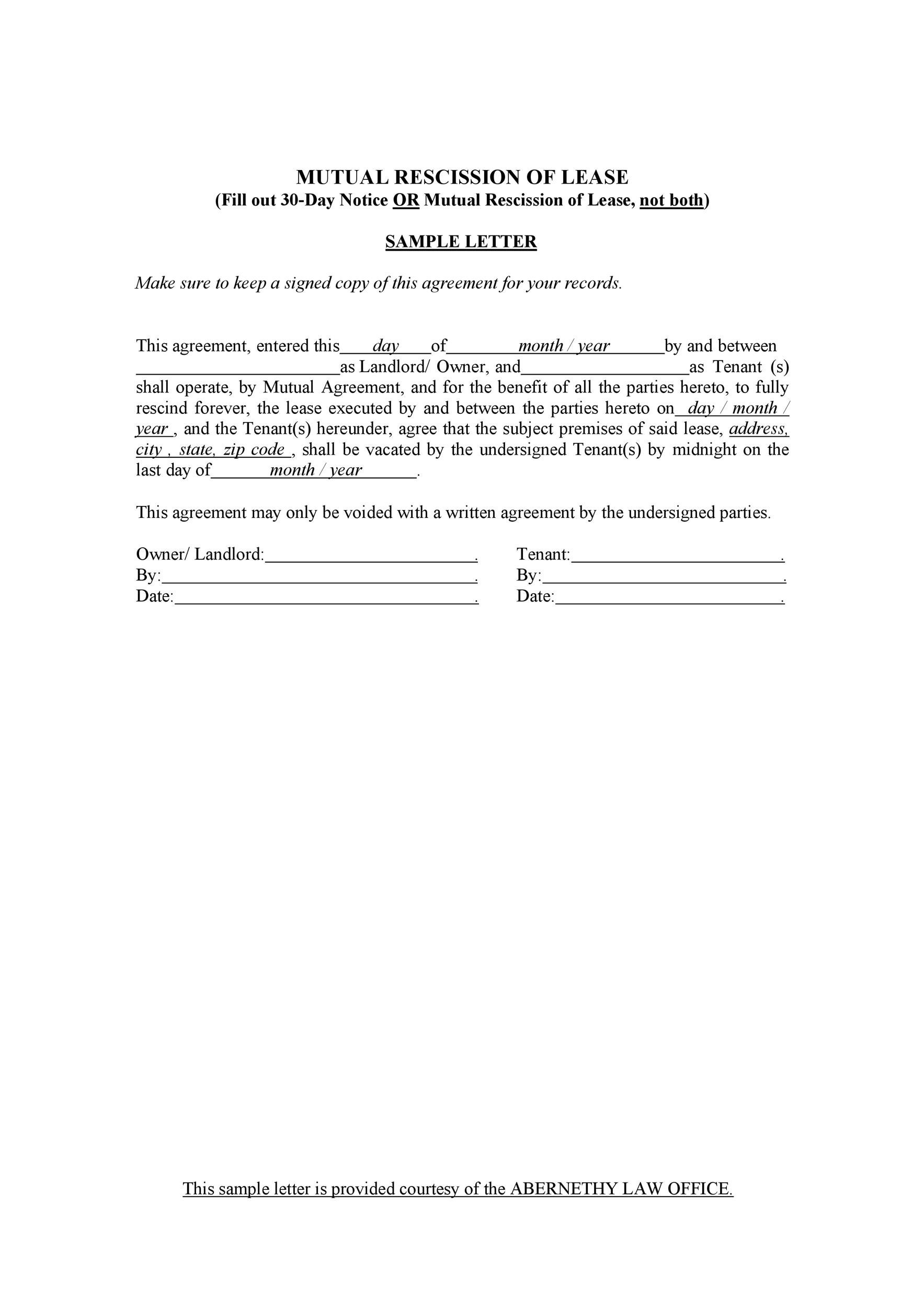 Free rescission agreement 04