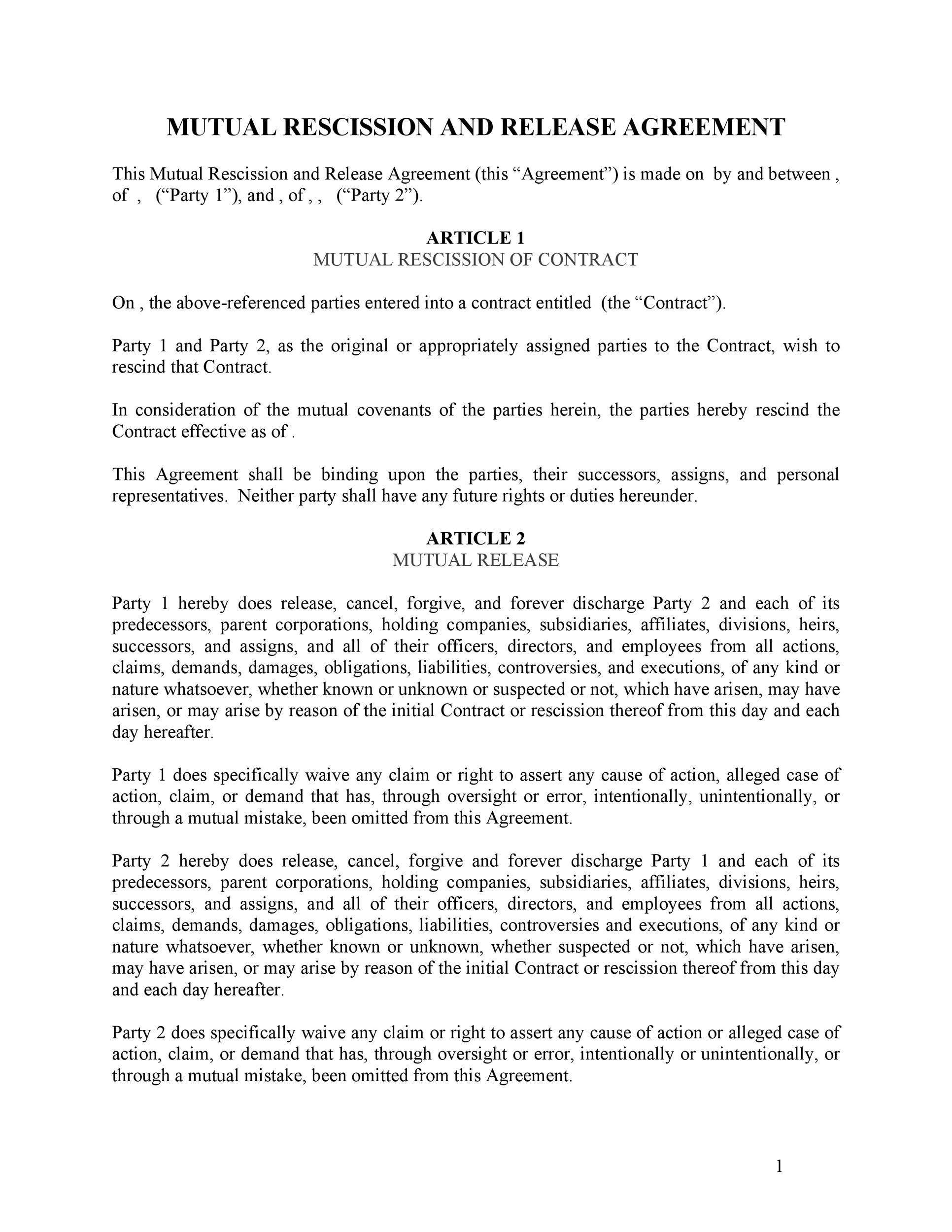 Free rescission agreement 05