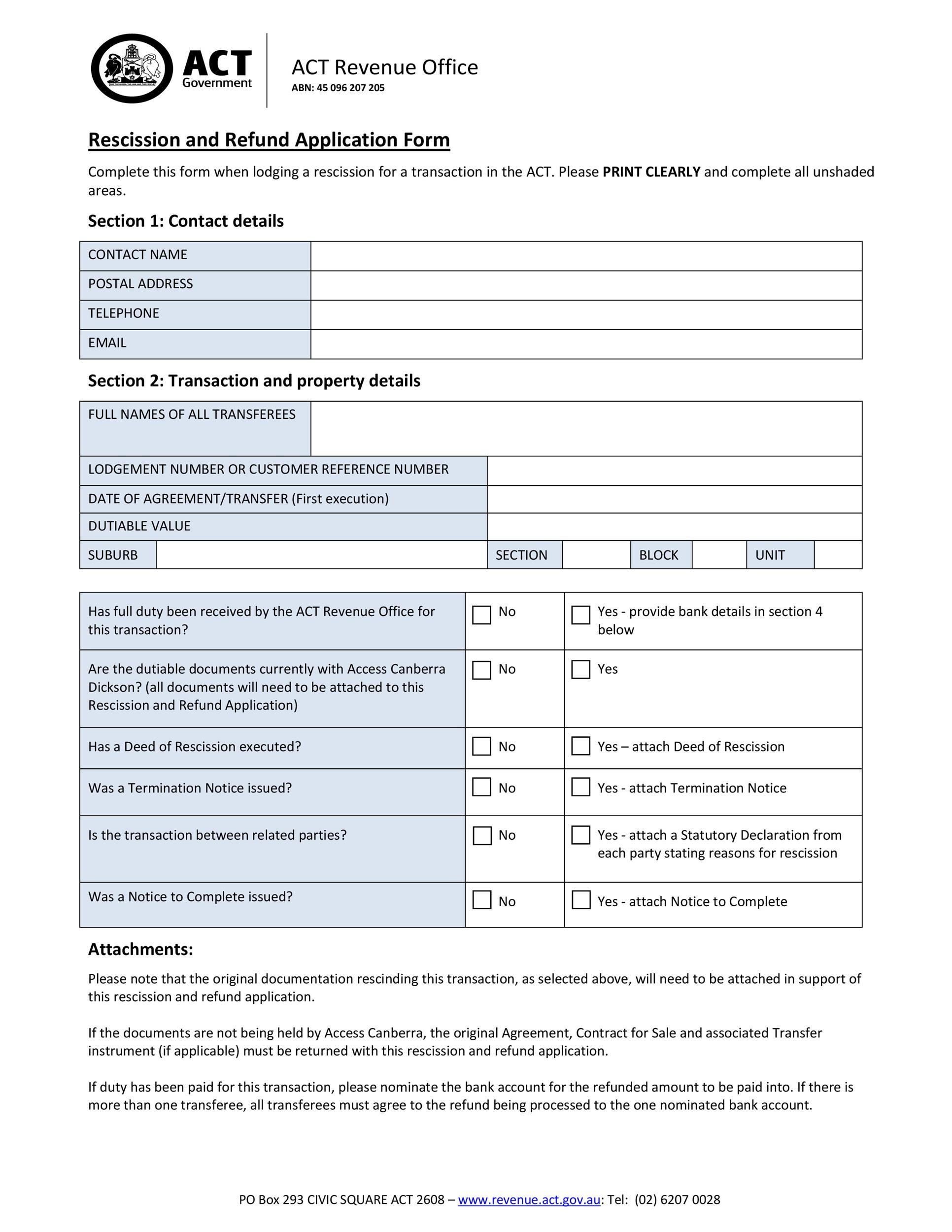 Free rescission agreement 06