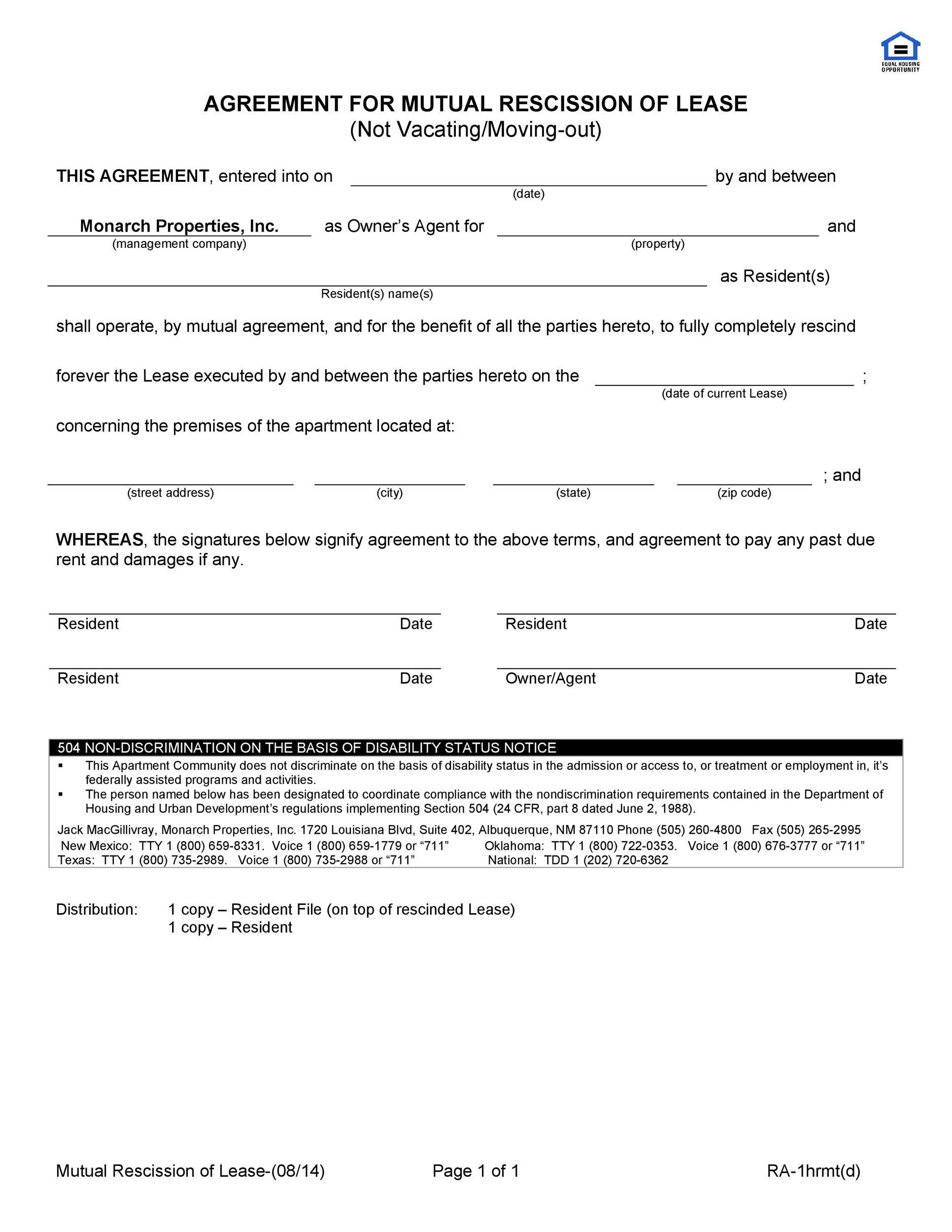 Free rescission agreement 07