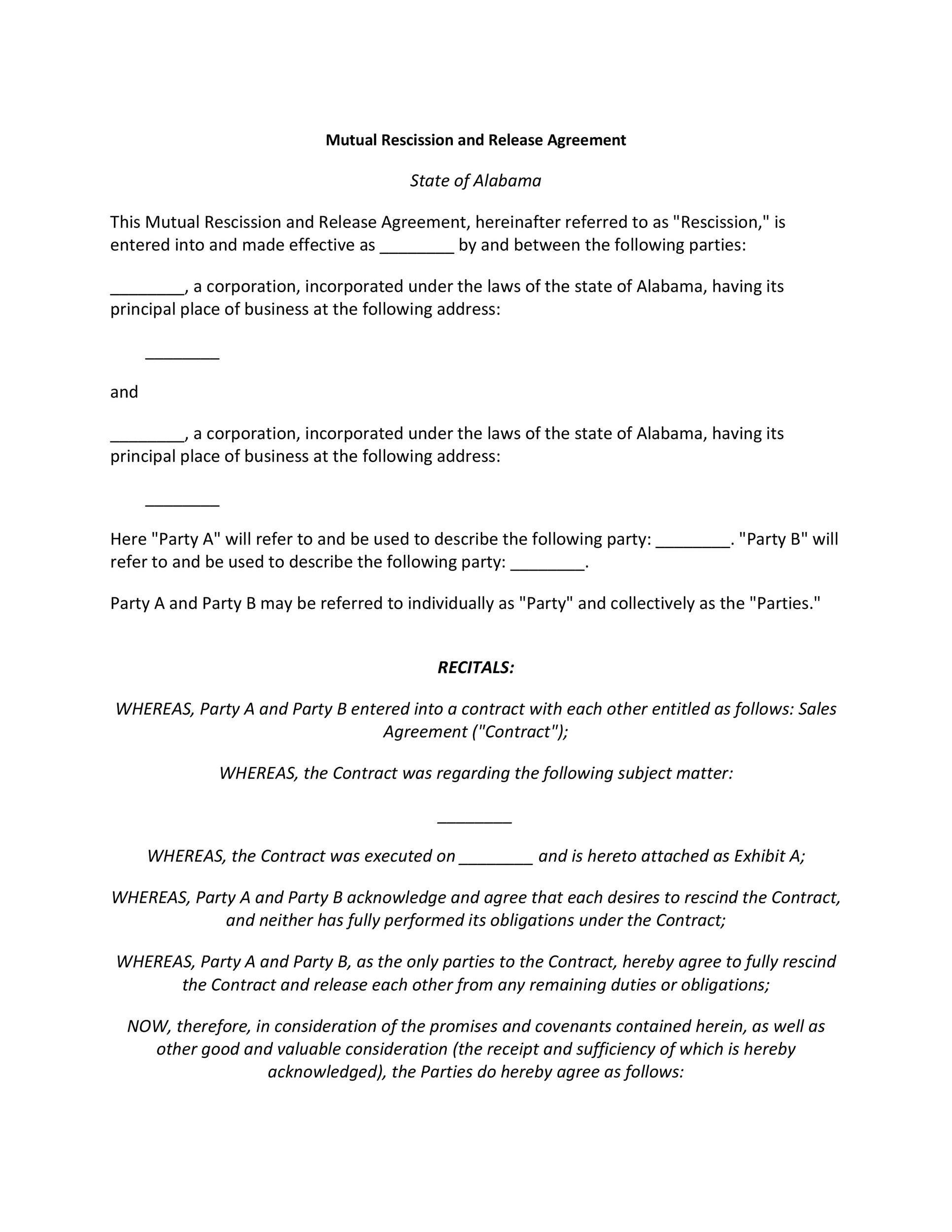 Free rescission agreement 08