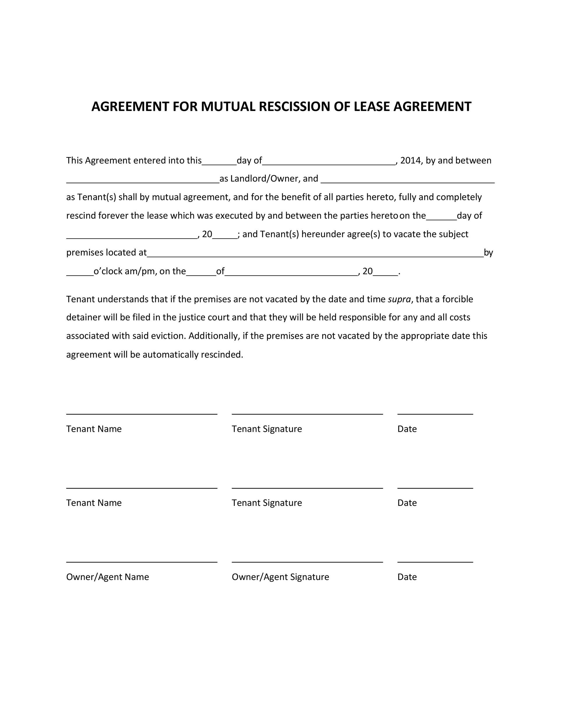 Free rescission agreement 13