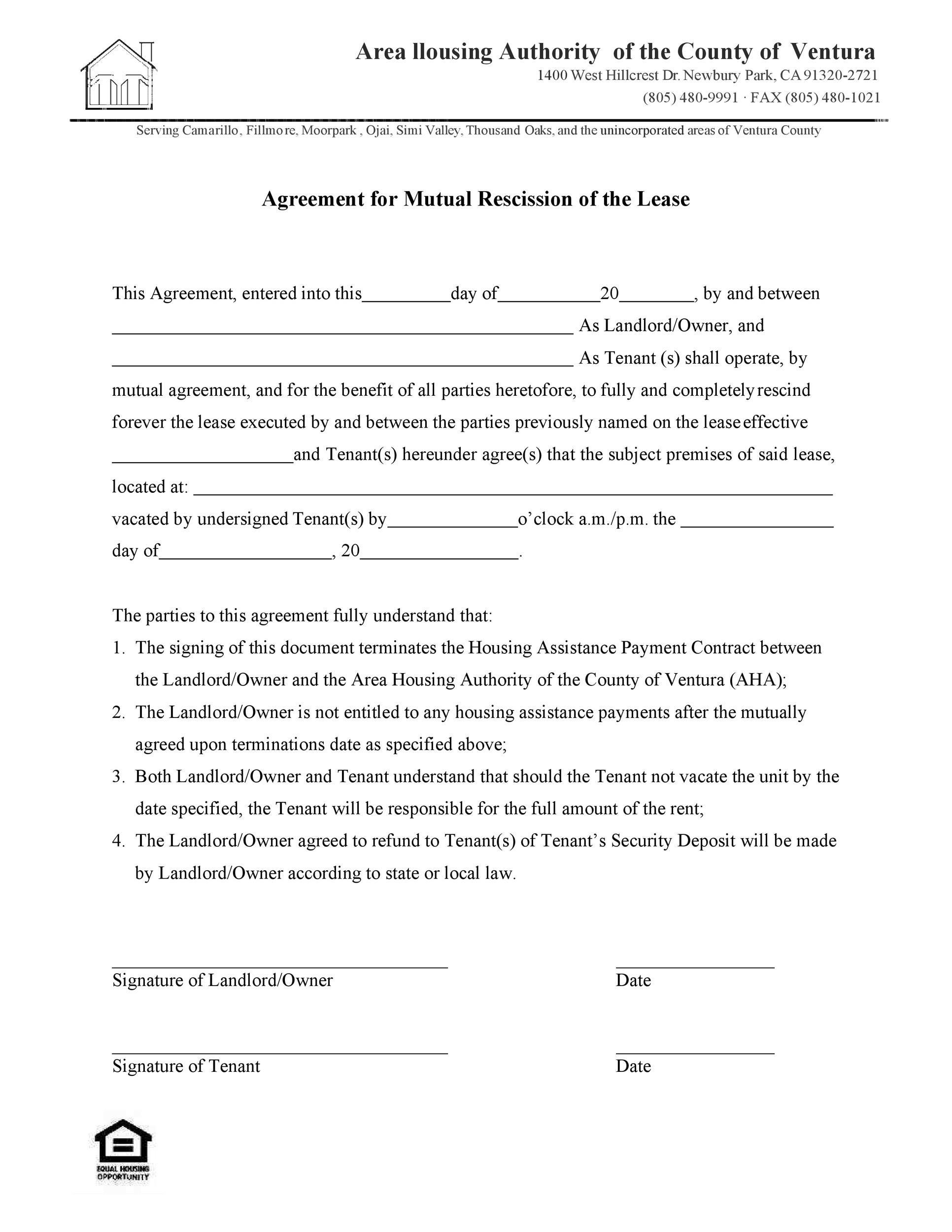 Free rescission agreement 14