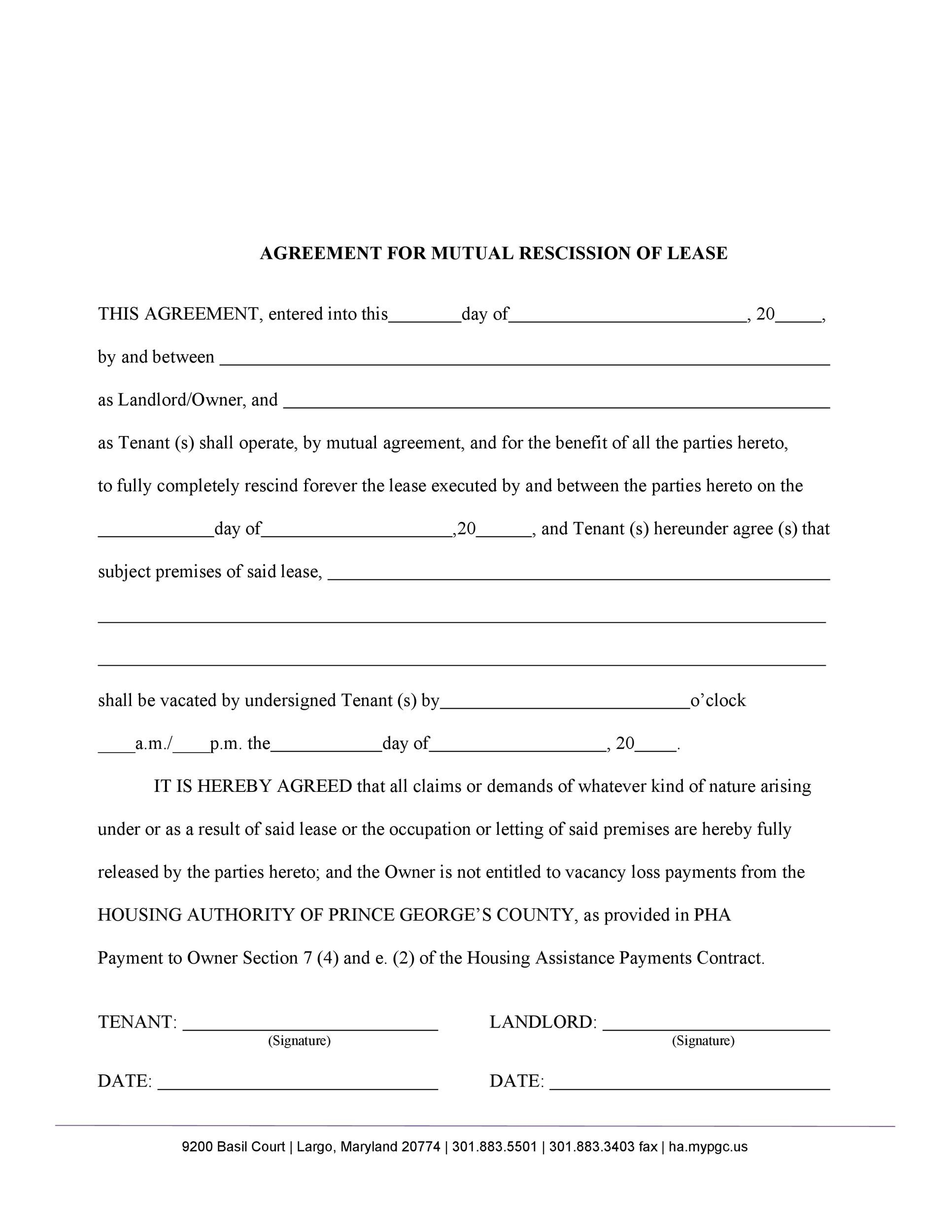 Free rescission agreement 15
