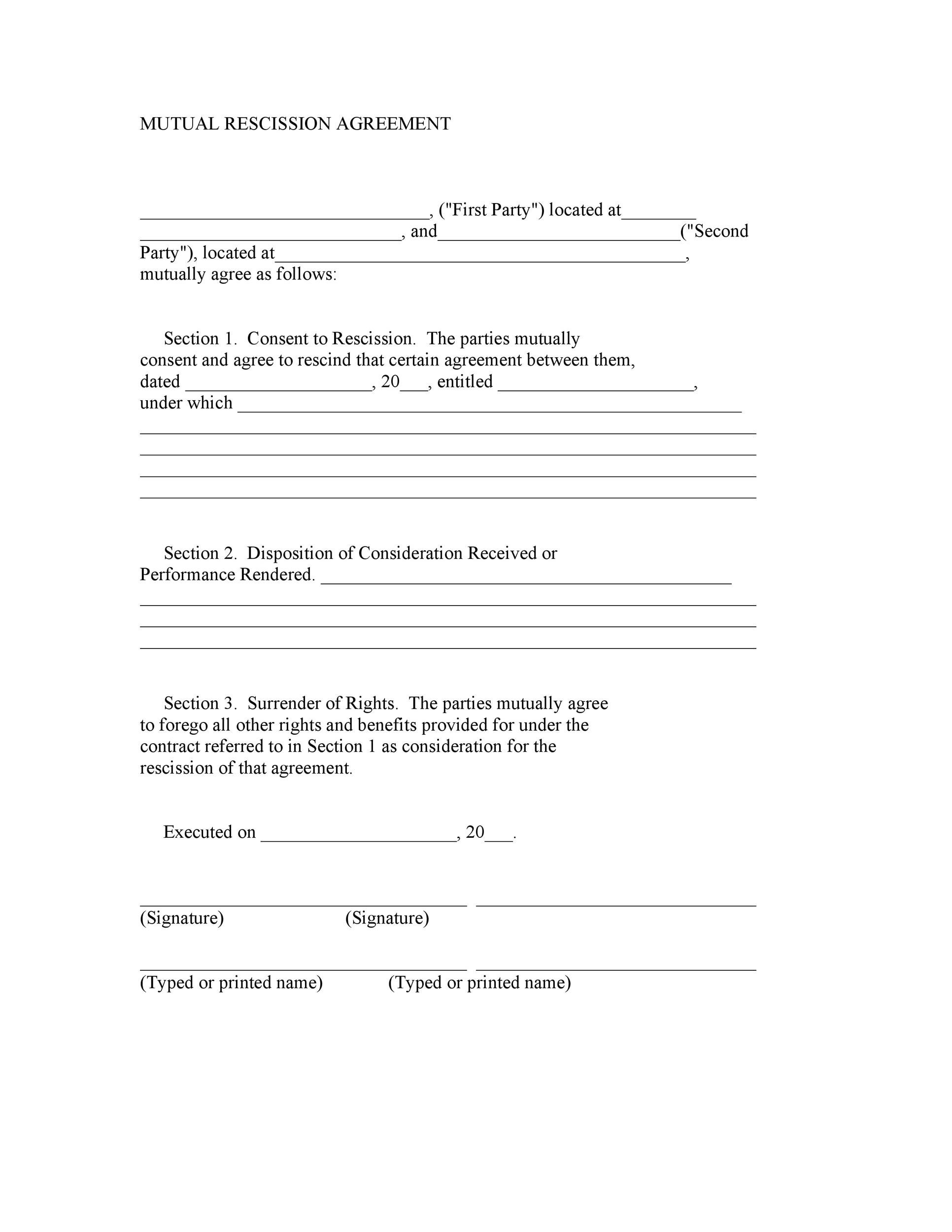 Free rescission agreement 20