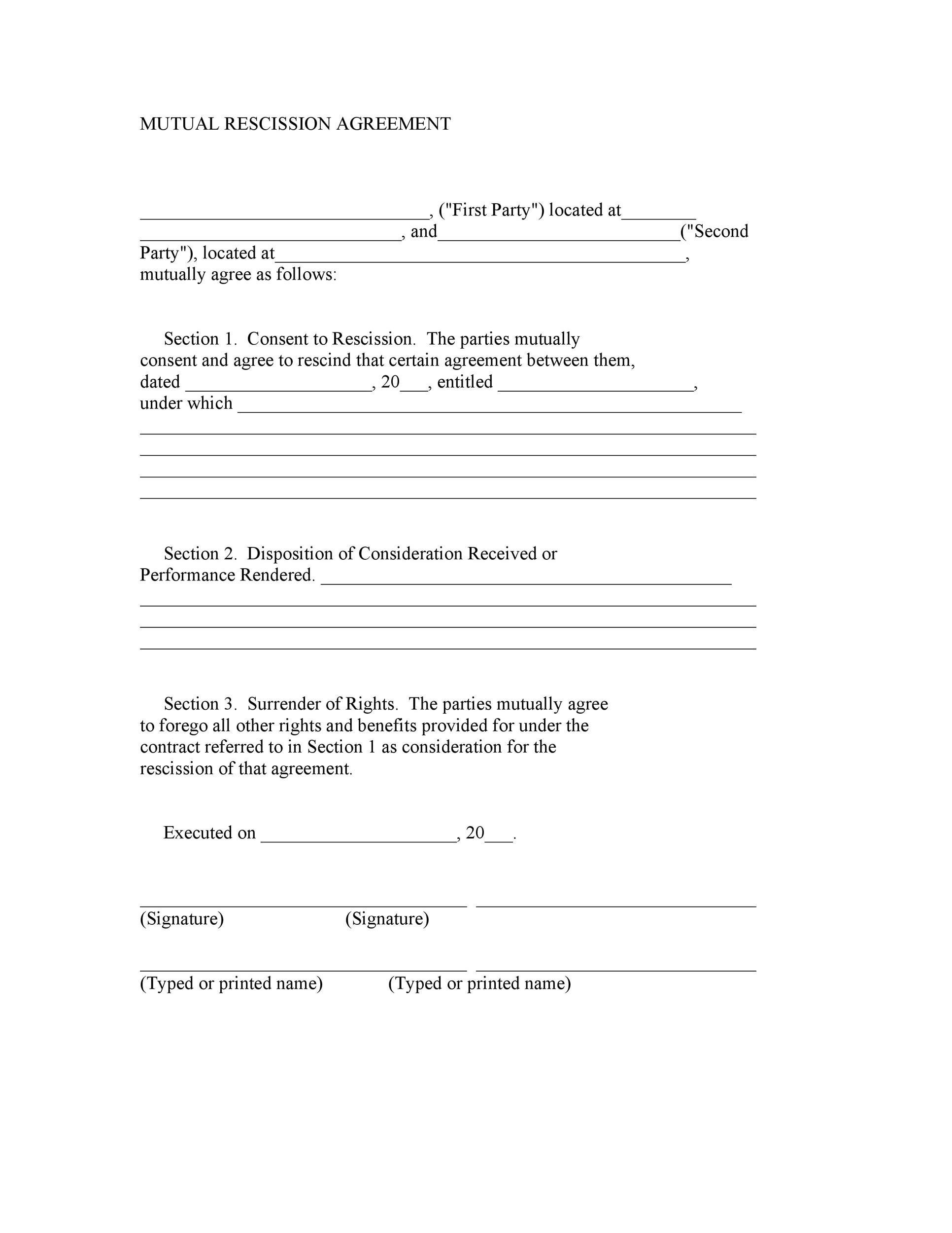 Free rescission agreement 20