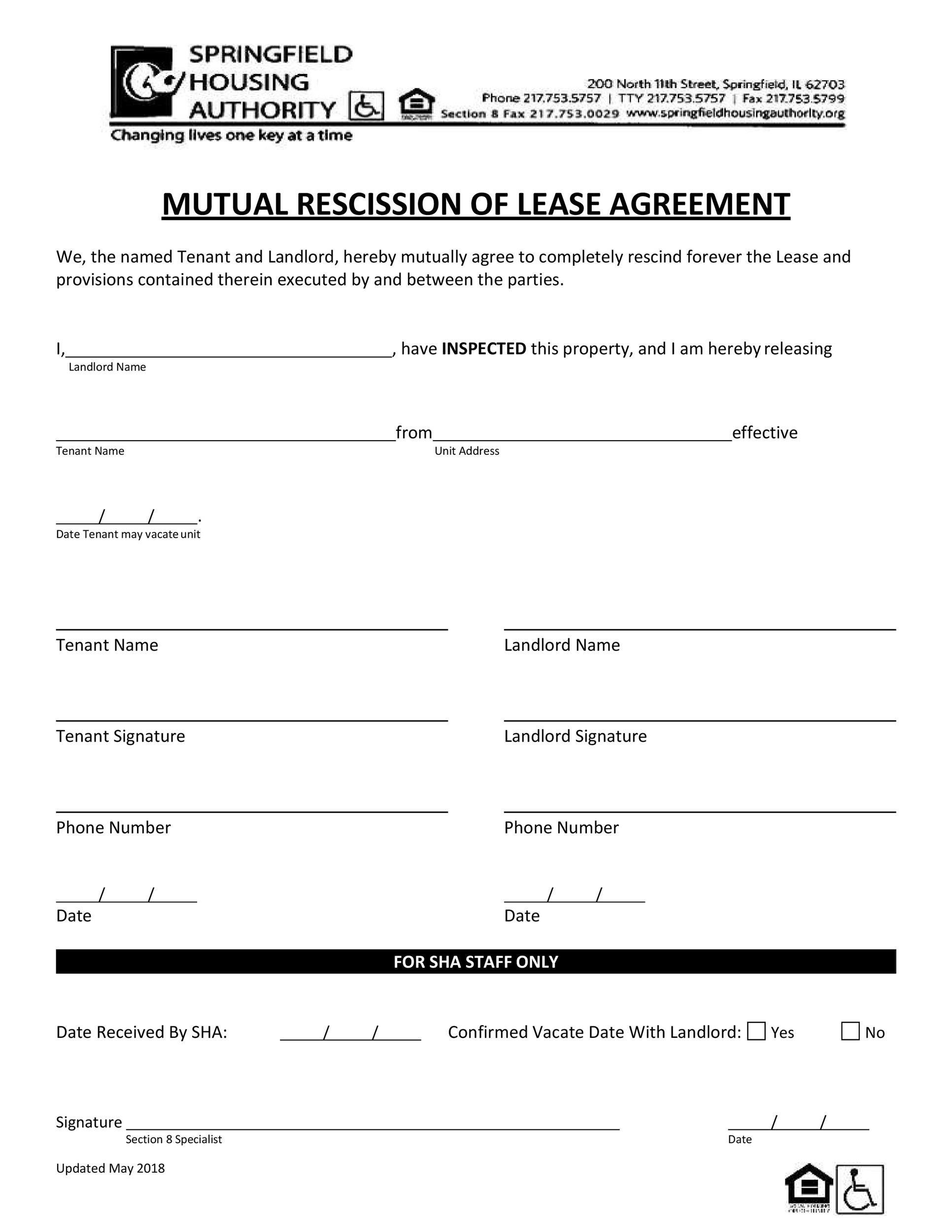 Free rescission agreement 22