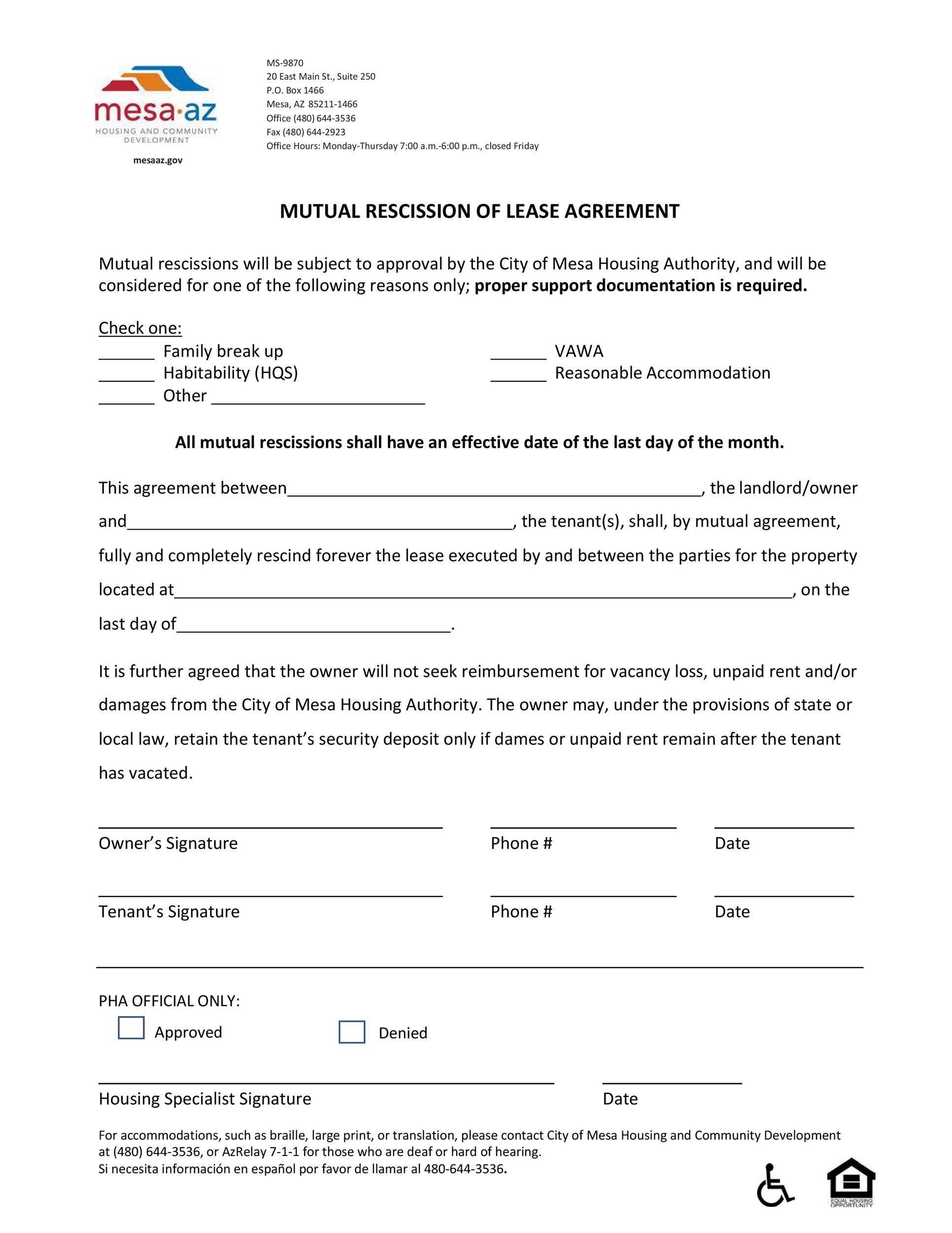 Free rescission agreement 27