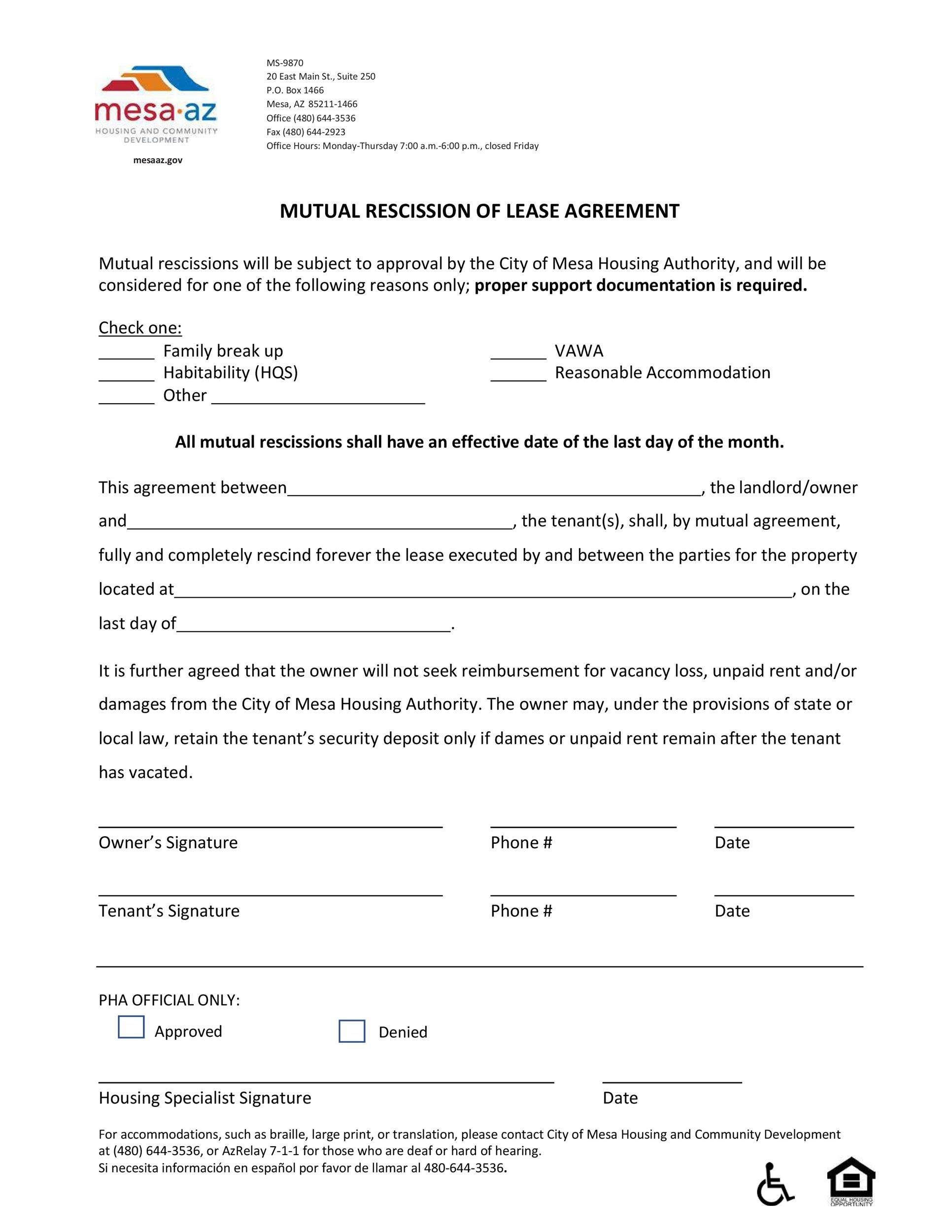 Free rescission agreement 27