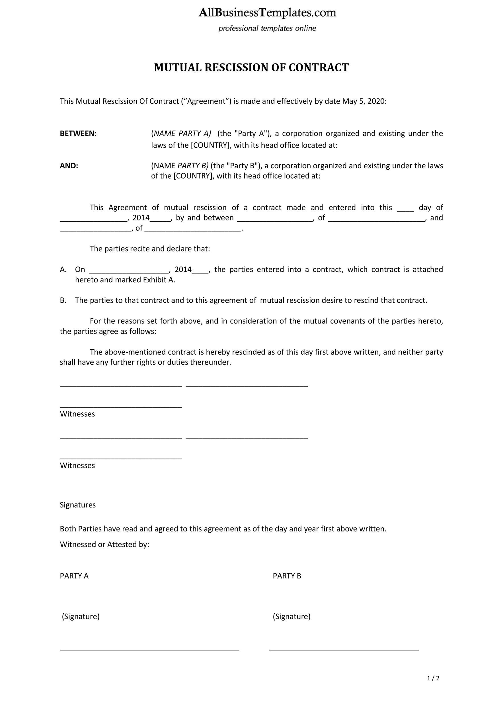 Free rescission agreement 29