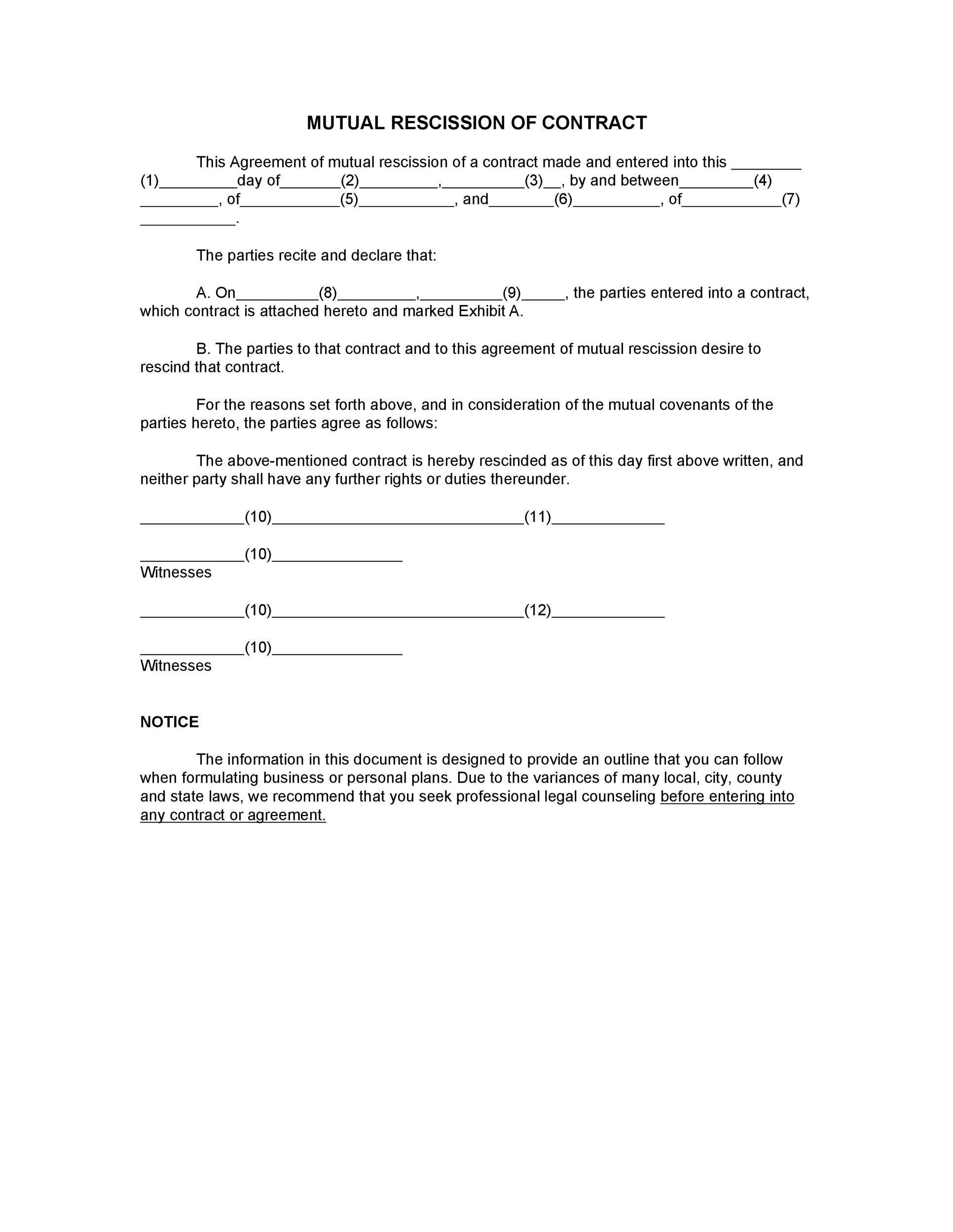 Free rescission agreement 31