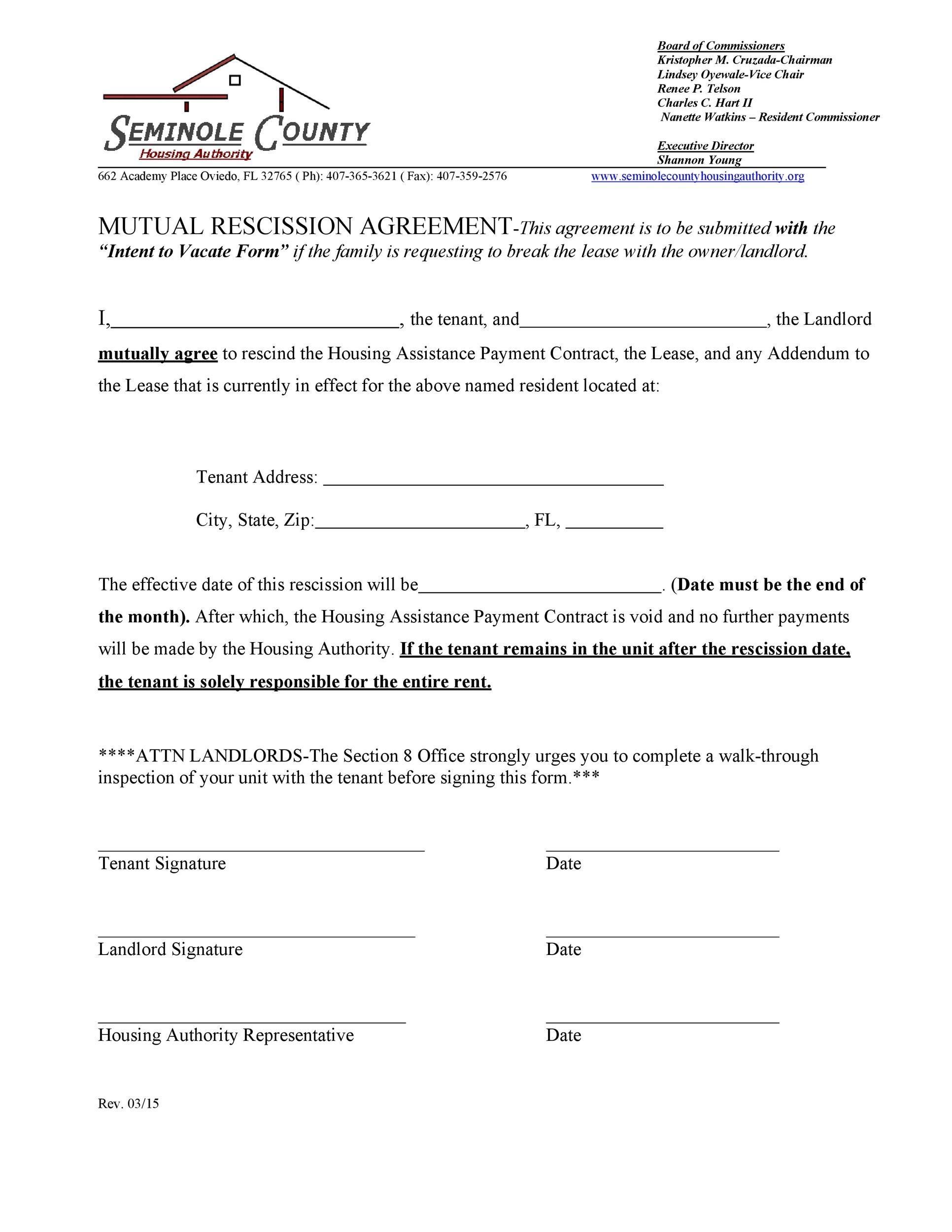 Free rescission agreement 32