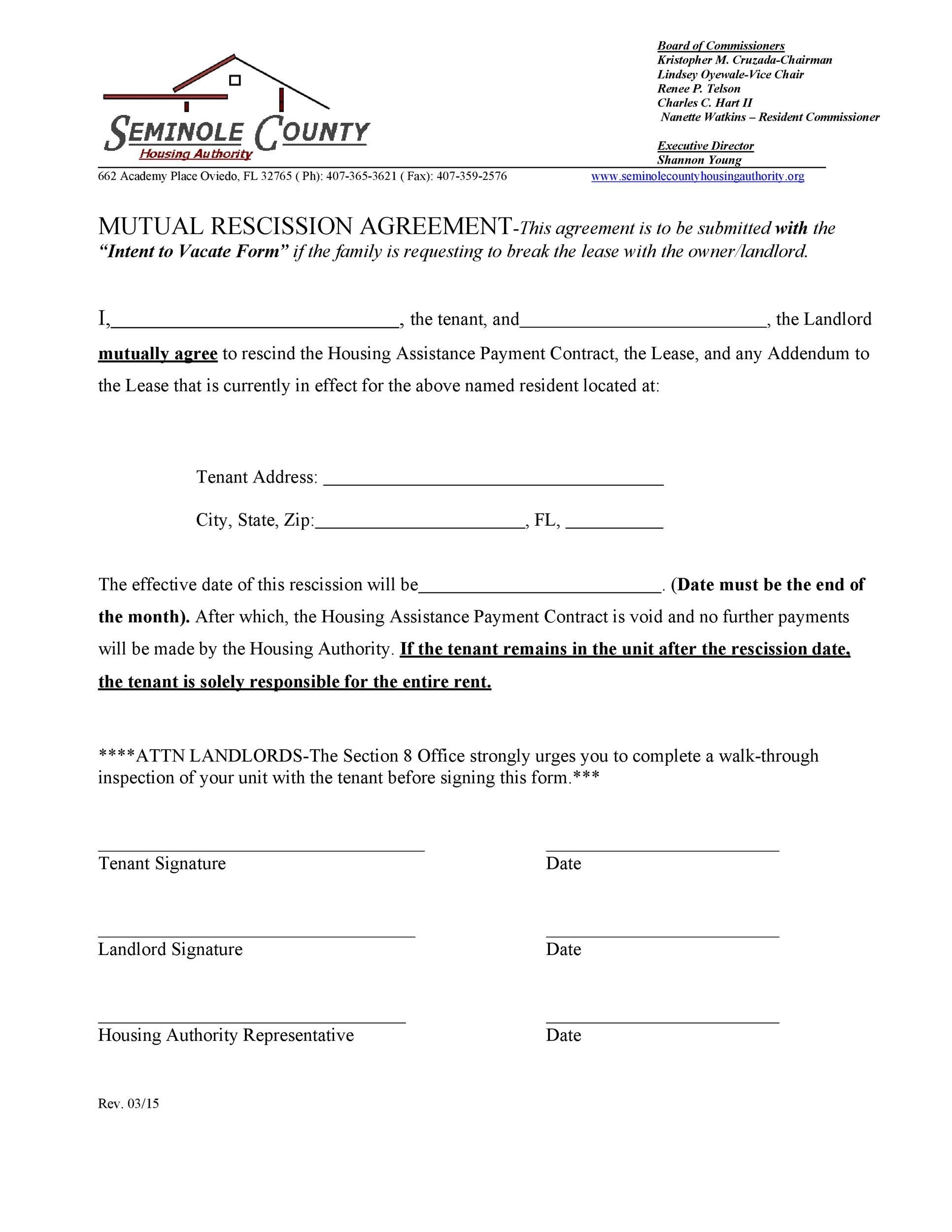 Free rescission agreement 32