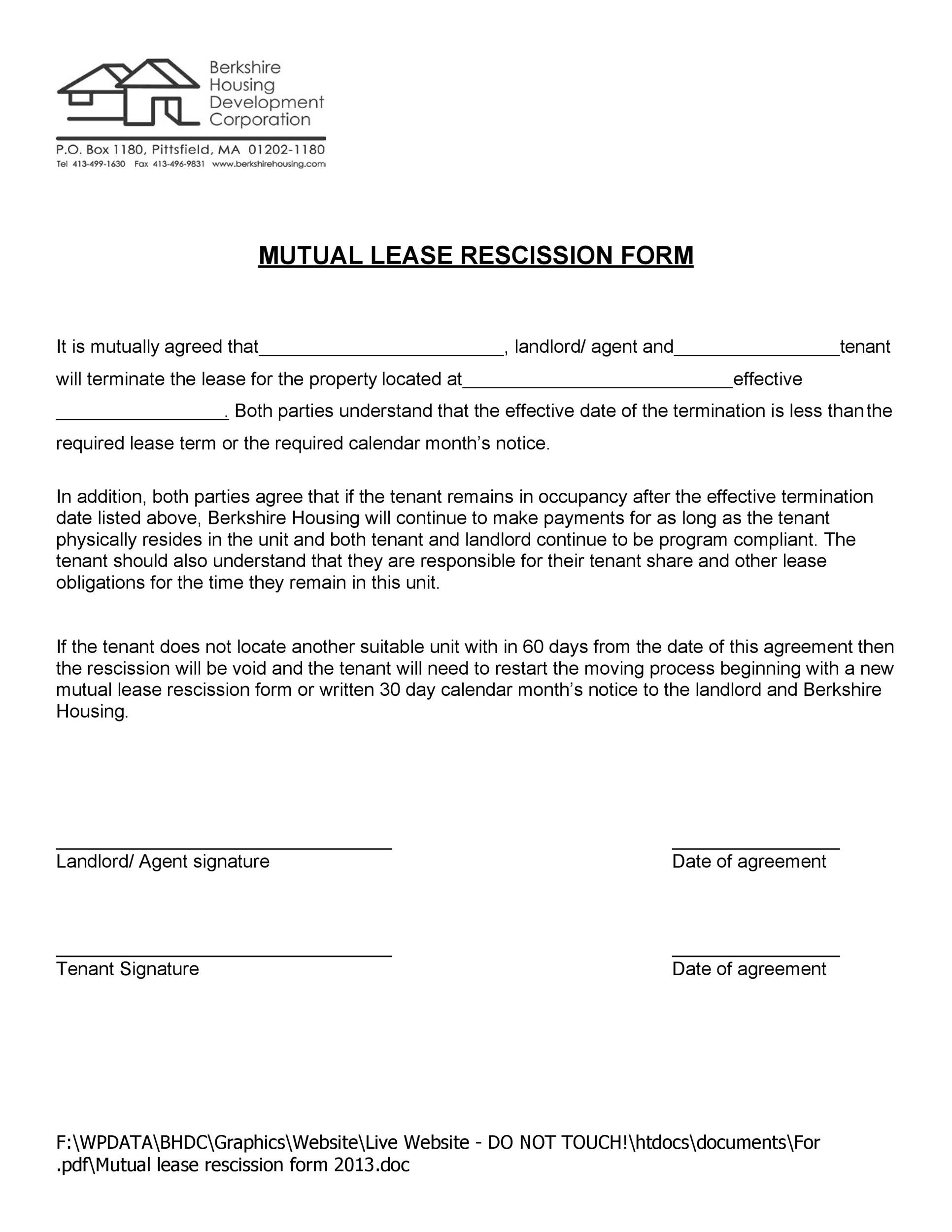 Free rescission agreement 34