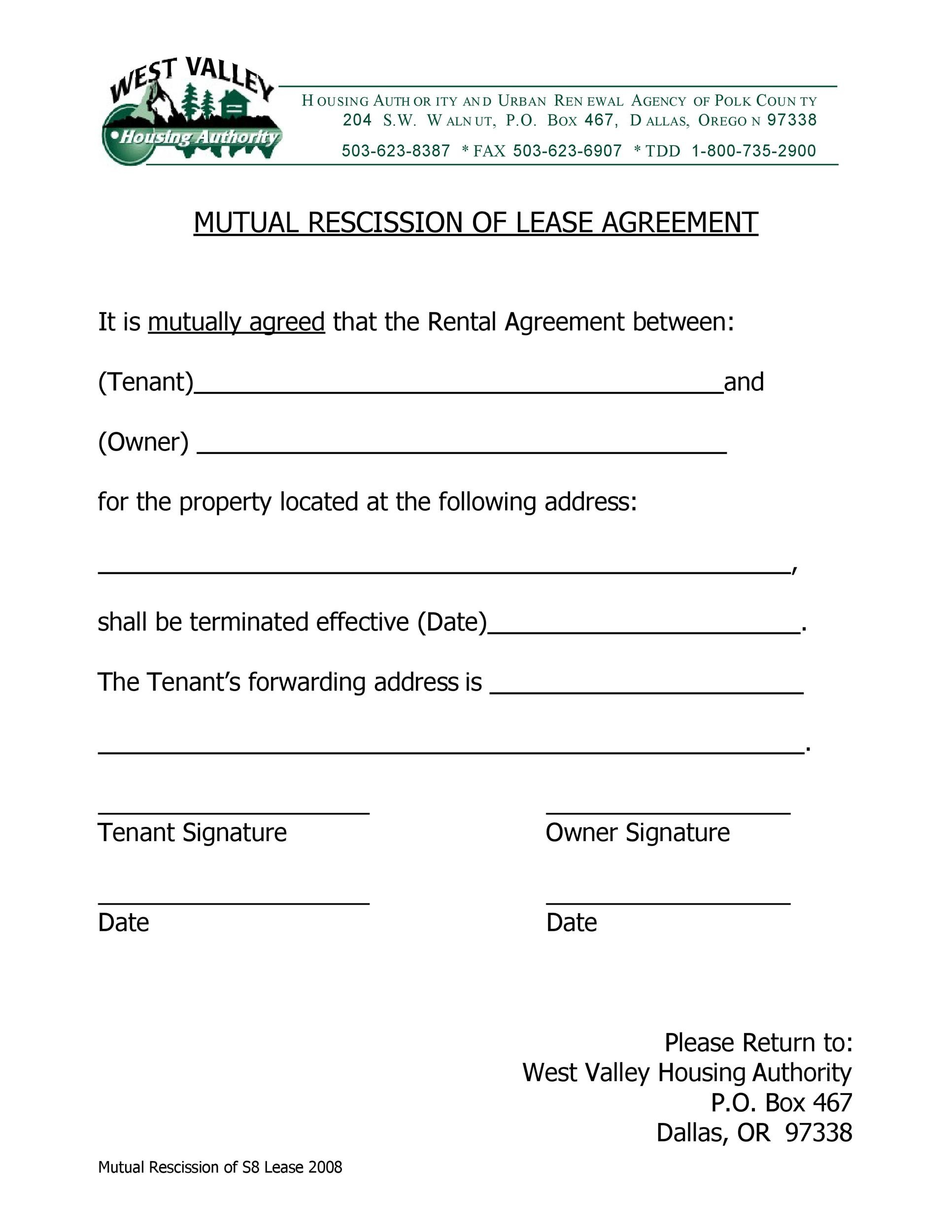 Free rescission agreement 37