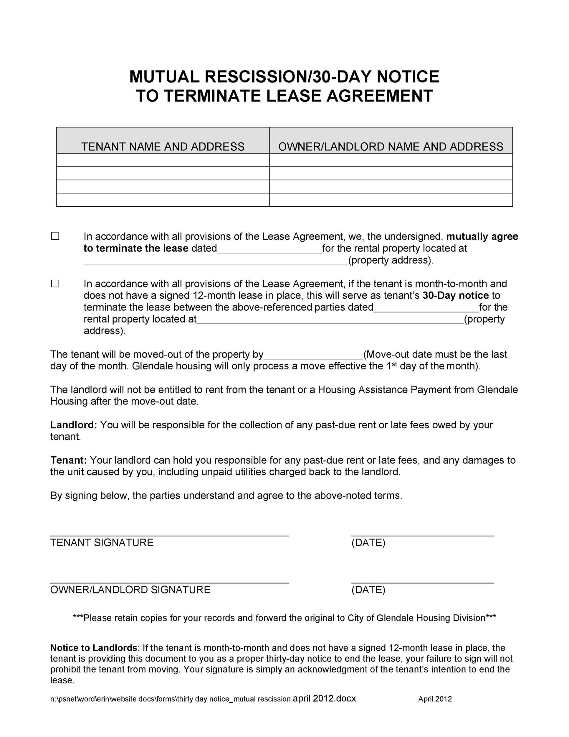 Free rescission agreement 38