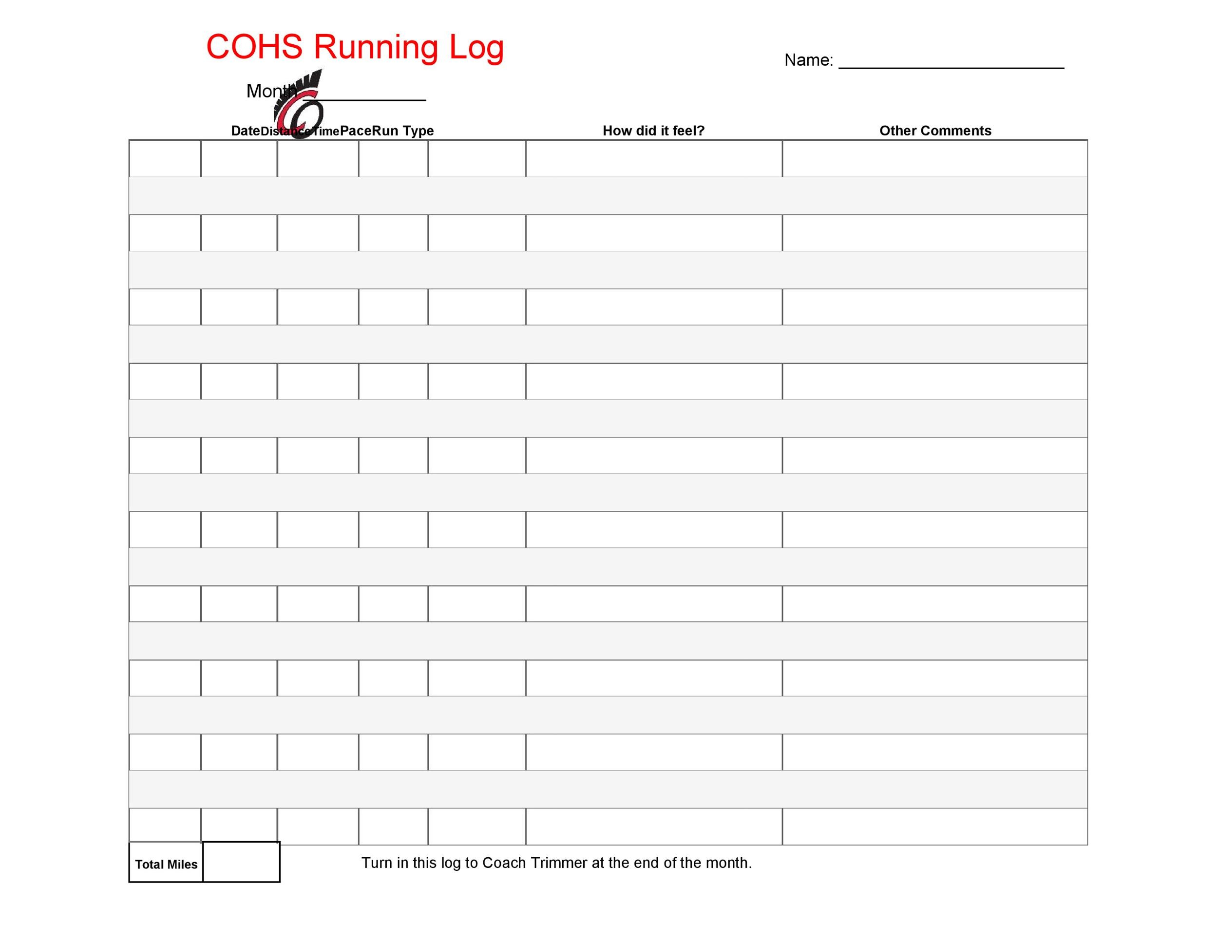 picture about Printable Running Log identified as 49 Easy Managing Log Templates (+Strolling Charts) ᐅ Template Lab