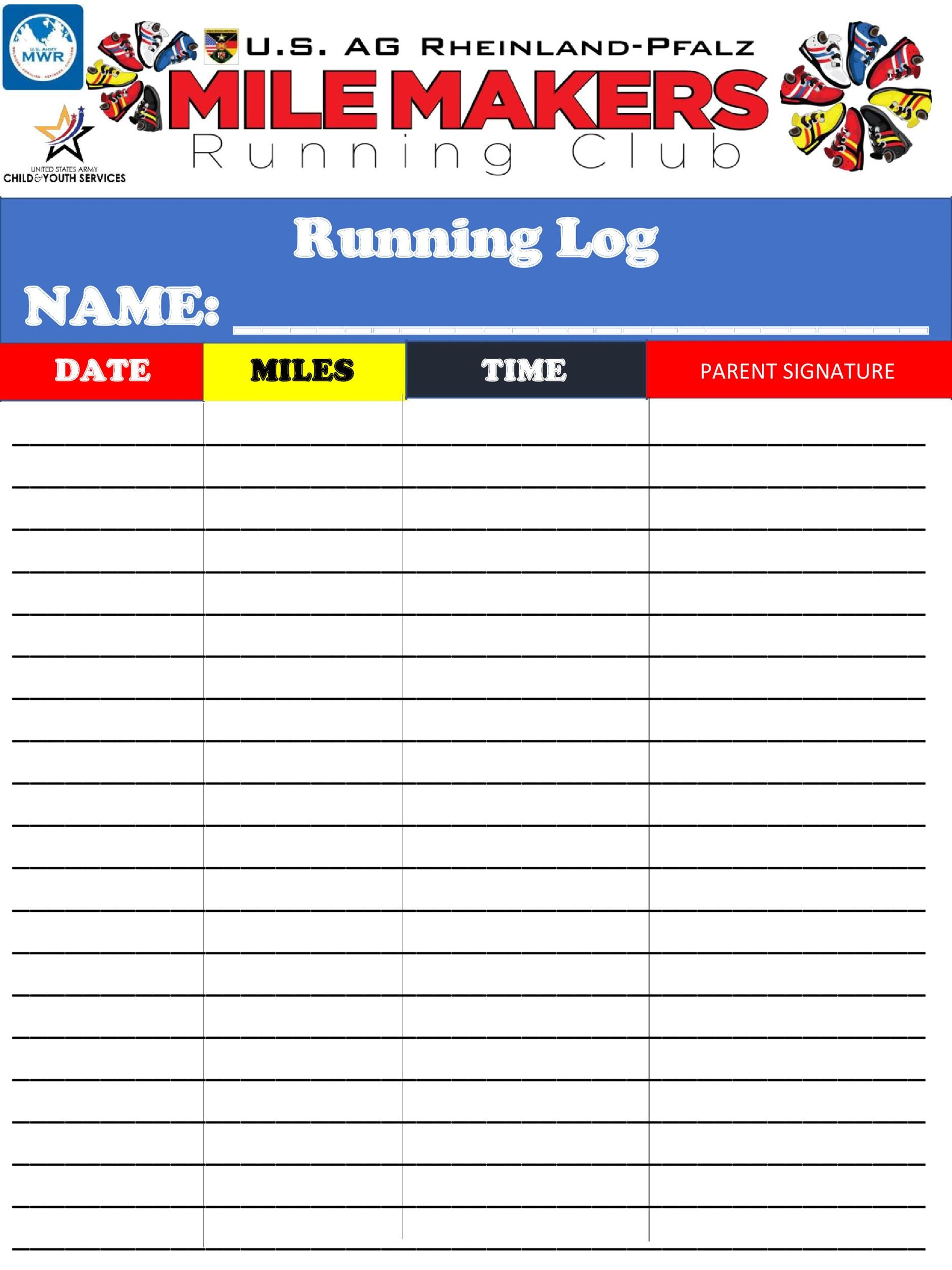 image relating to Printable Running Log named 49 Easy Jogging Log Templates (+Going for walks Charts) ᐅ Template Lab