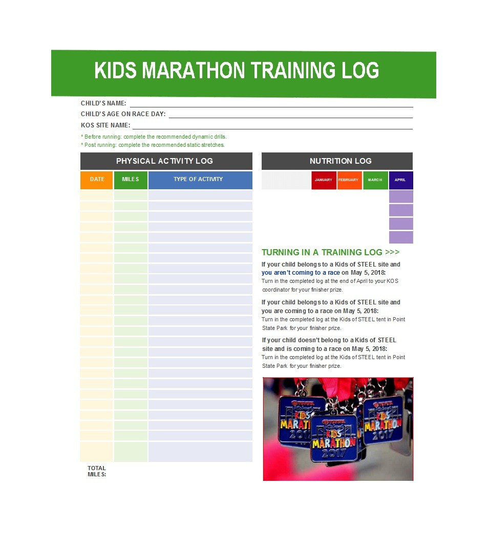 photograph relating to Printable Walking Log identified as 49 Effortless Operating Log Templates (+Strolling Charts) ᐅ Template Lab