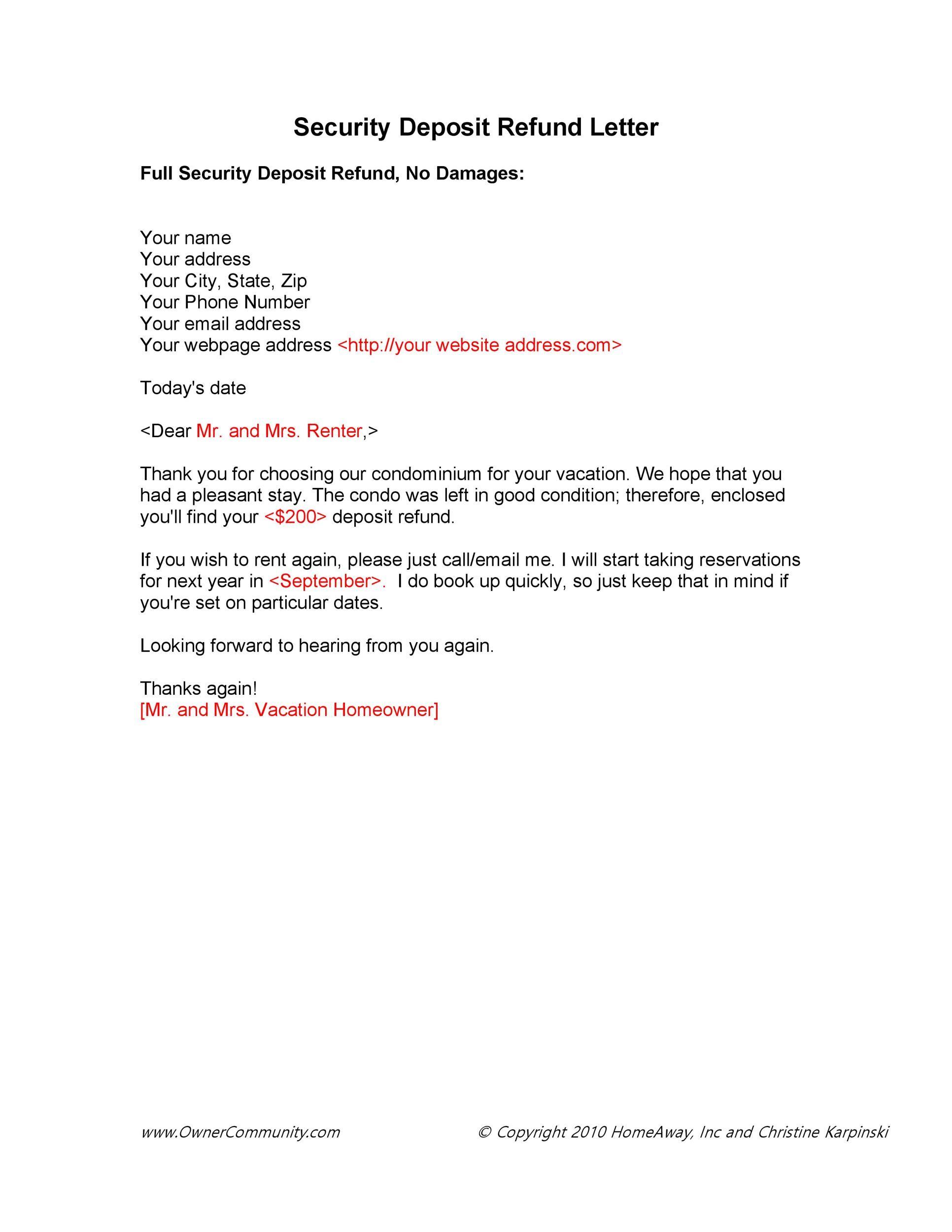 Free security deposit return letter 01