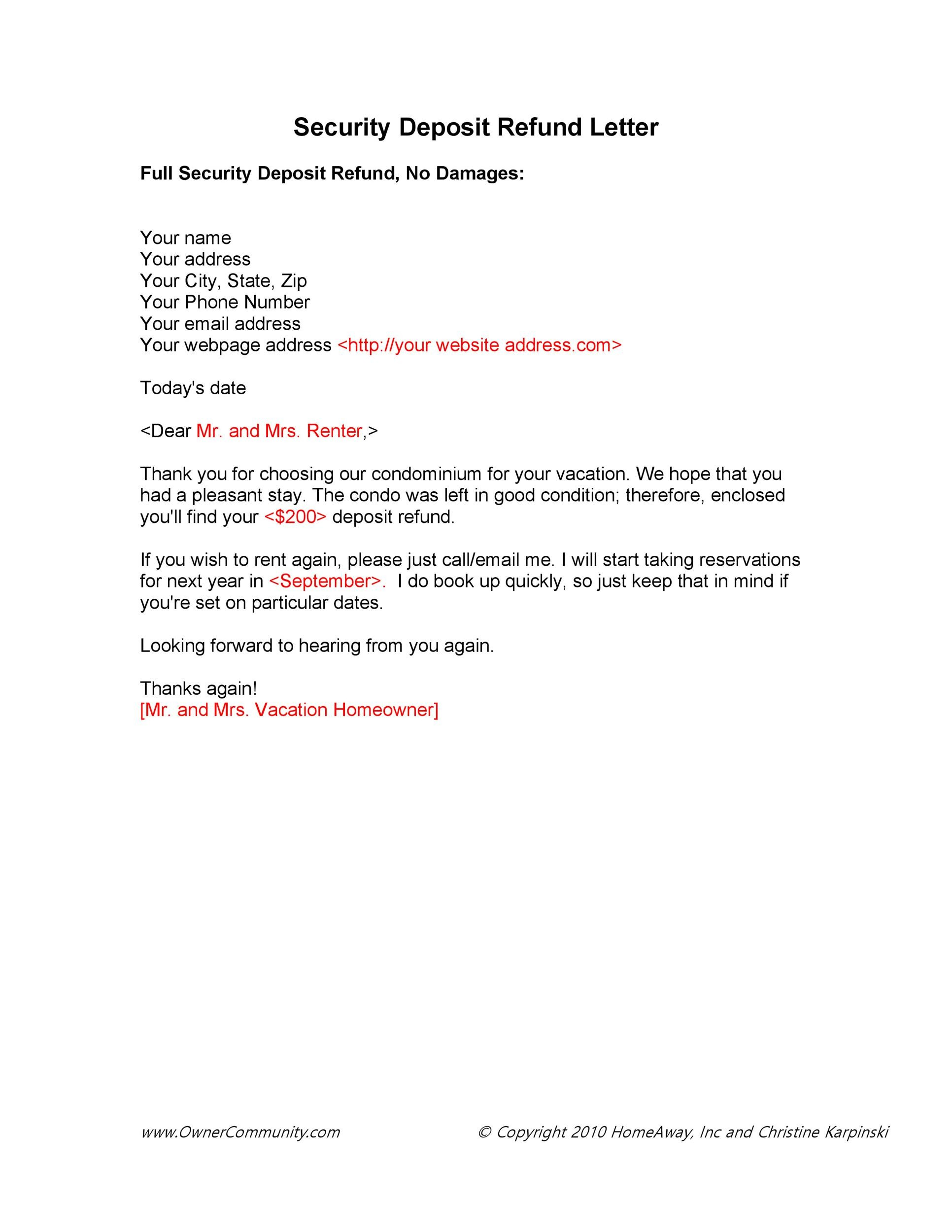 Free security deposit return letter 01