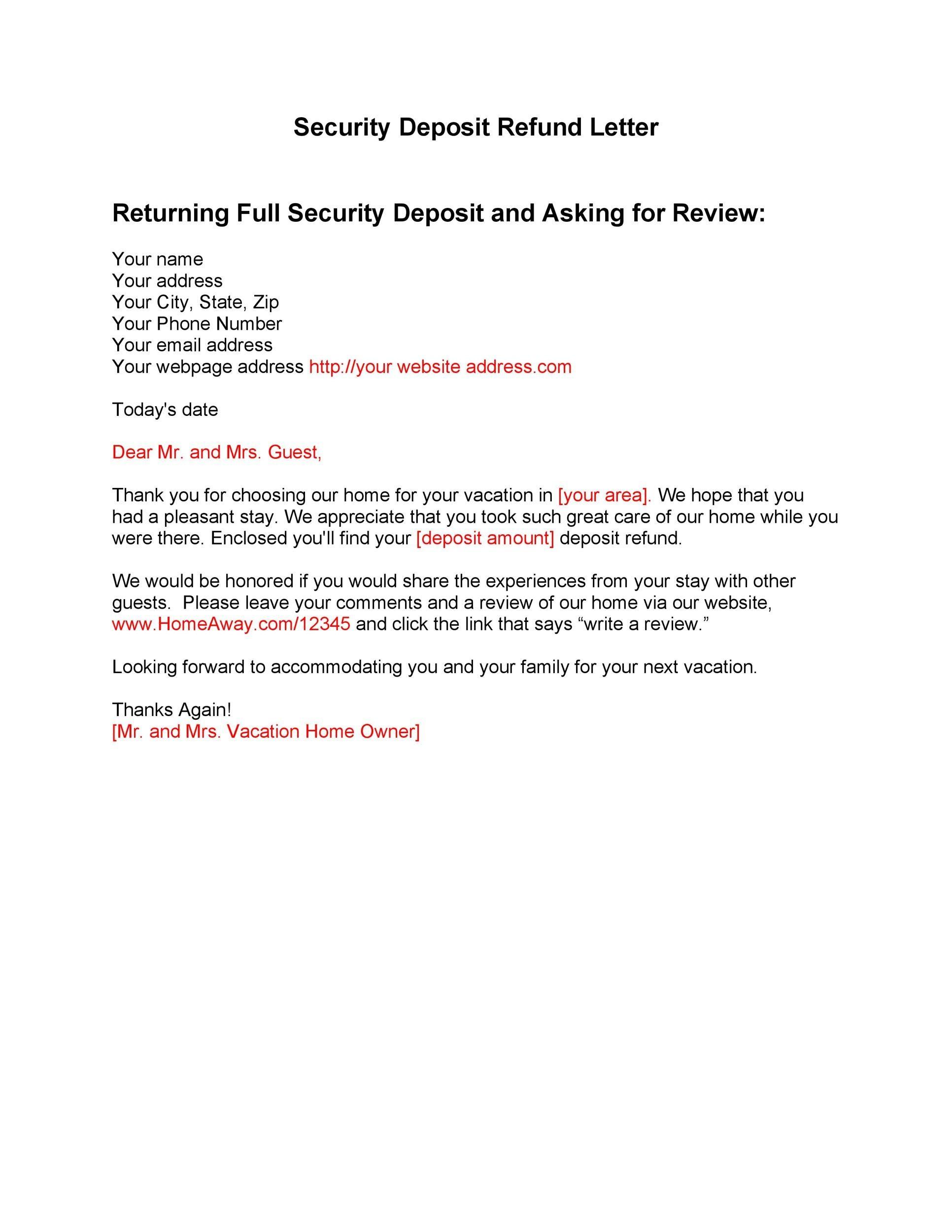 Sample Security Deposit Refund Letter from templatelab.com