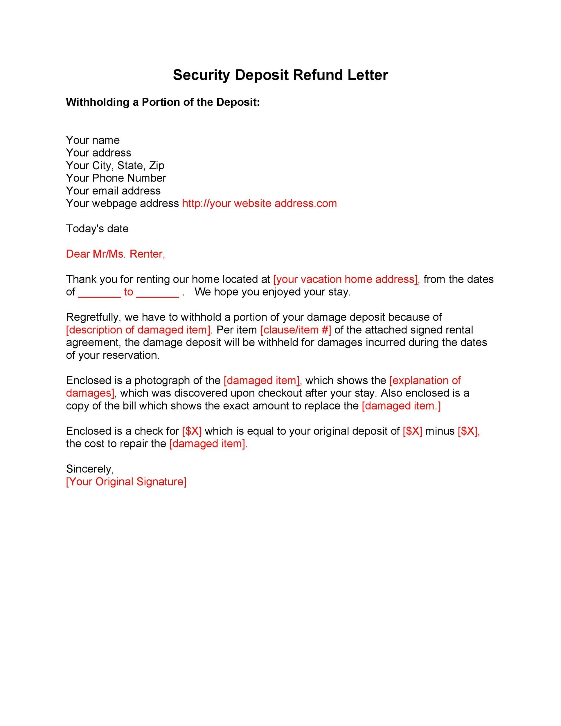 Free security deposit return letter 03