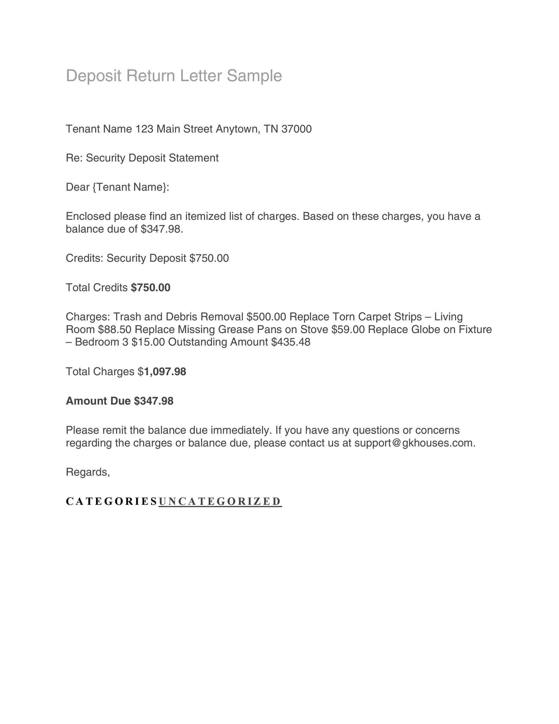 Free security deposit return letter 05