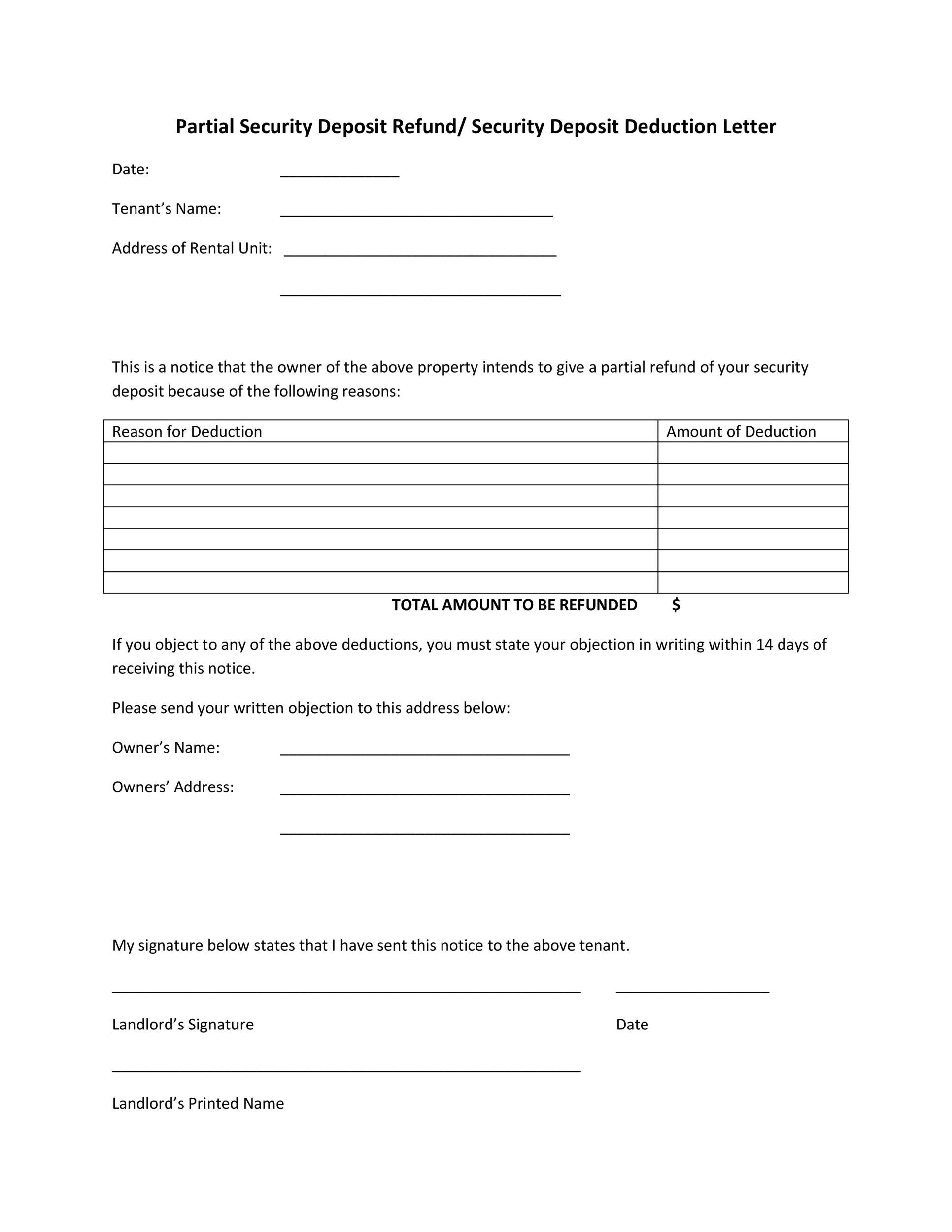 Free security deposit return letter 06