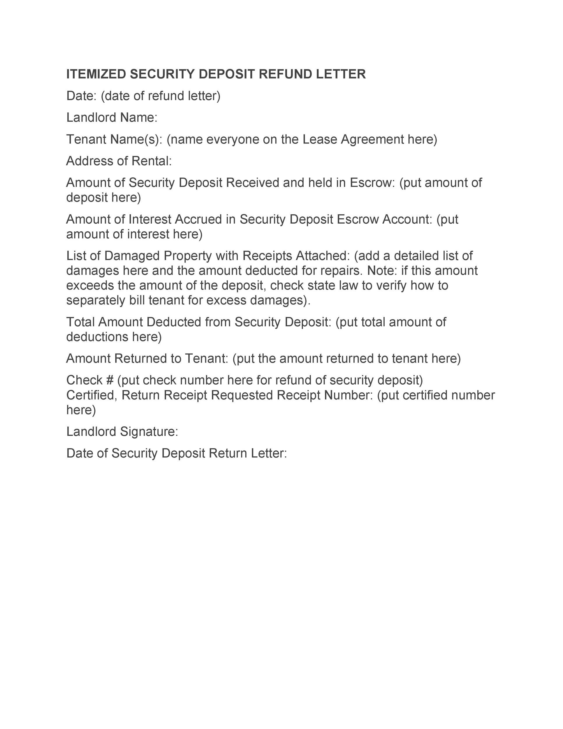 Free security deposit return letter 08