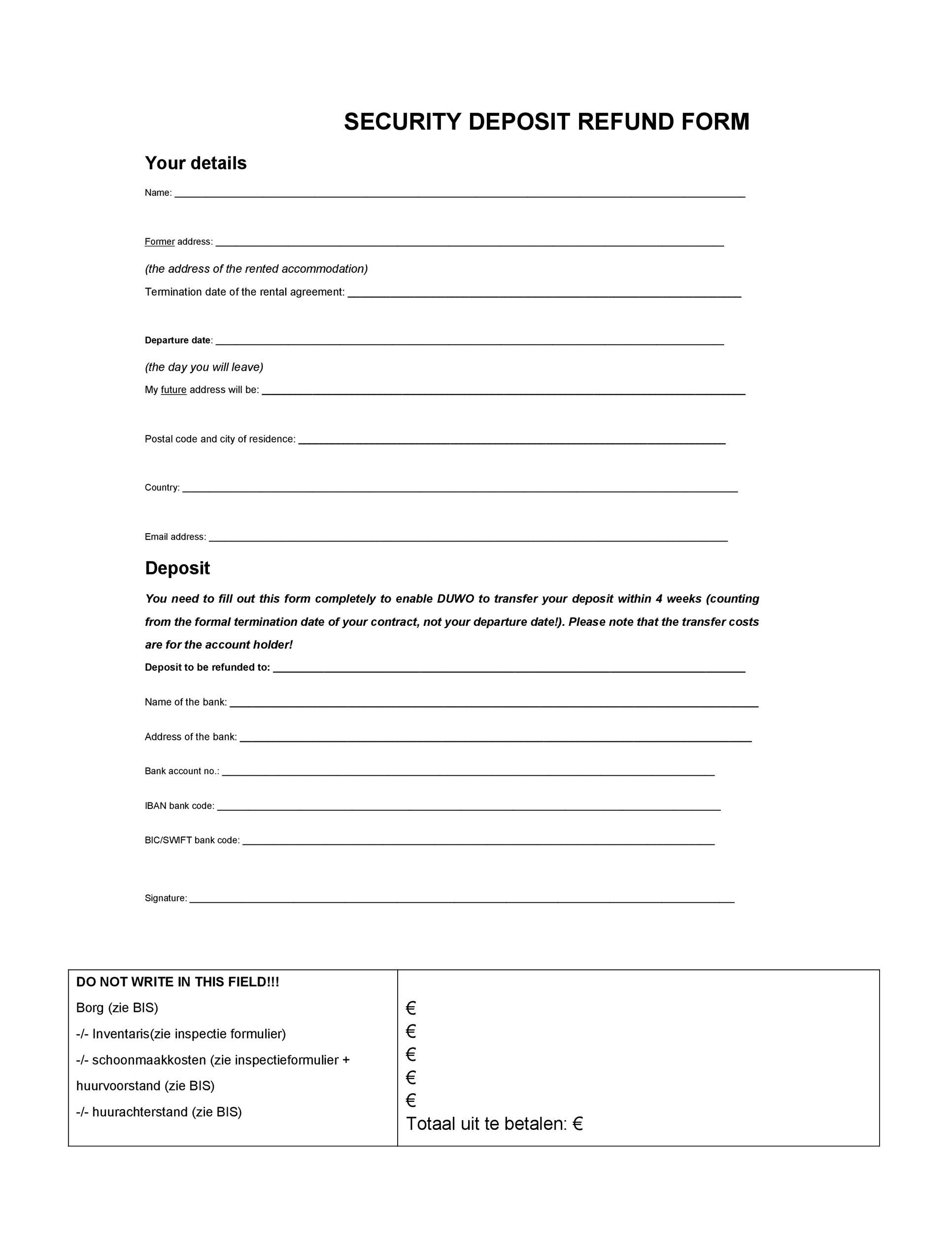 Free security deposit return letter 09