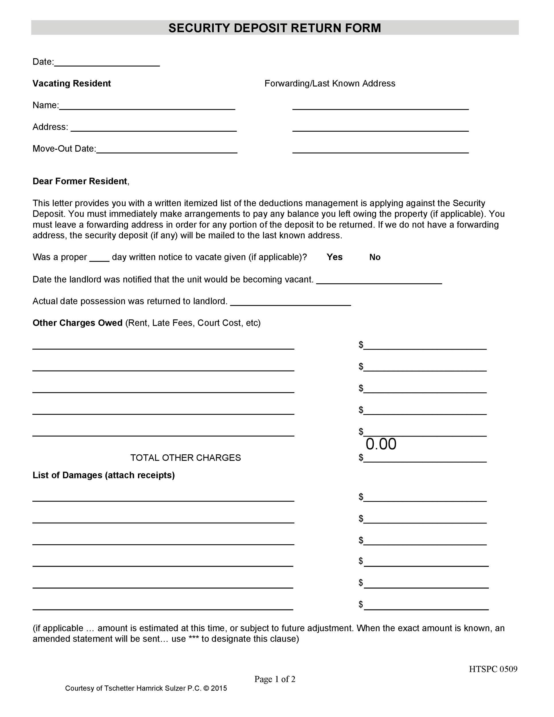 Free security deposit return letter 10